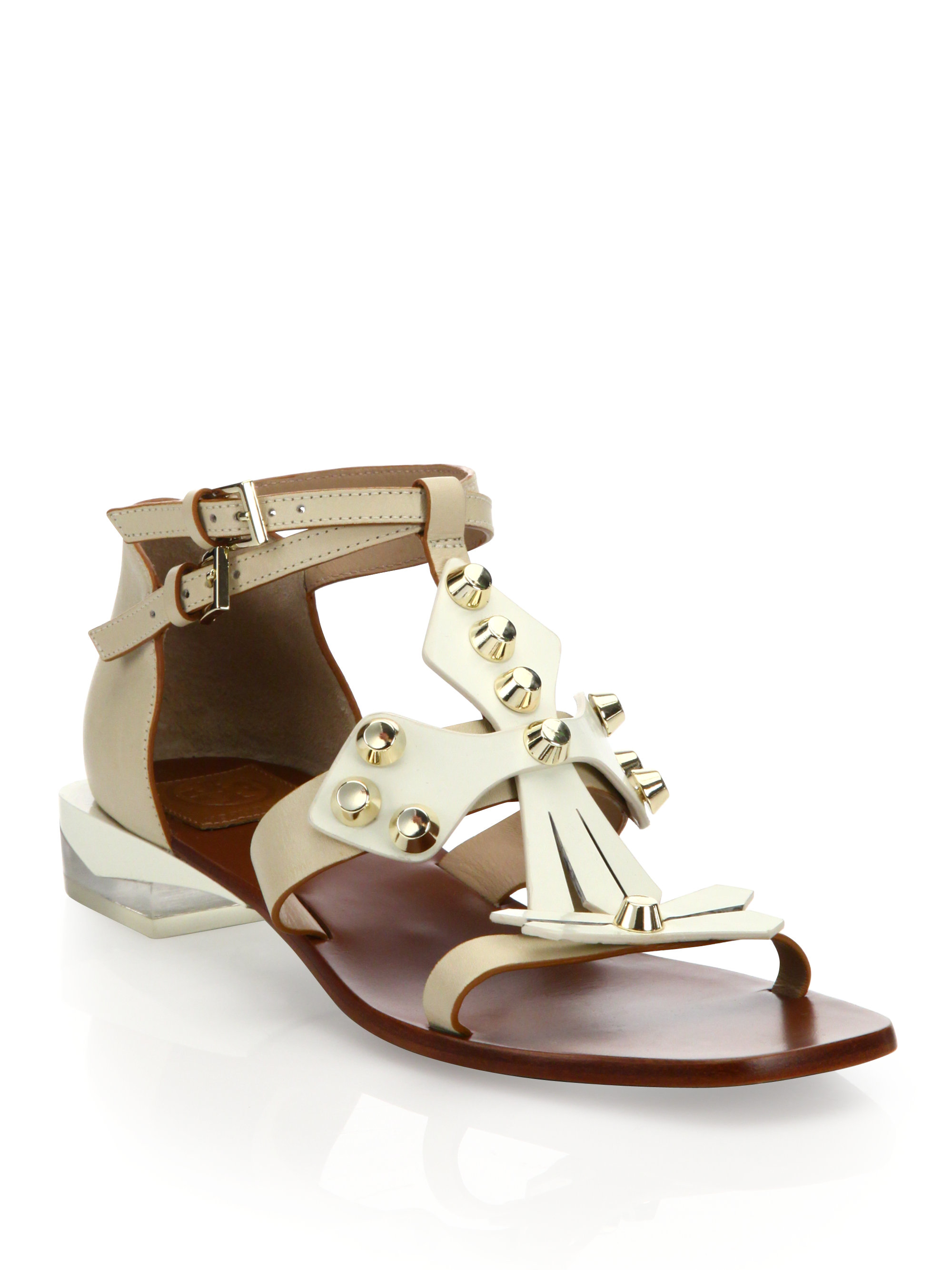 Lyst - Tory Burch Aurora Leather Ankle-strap Sandals in White