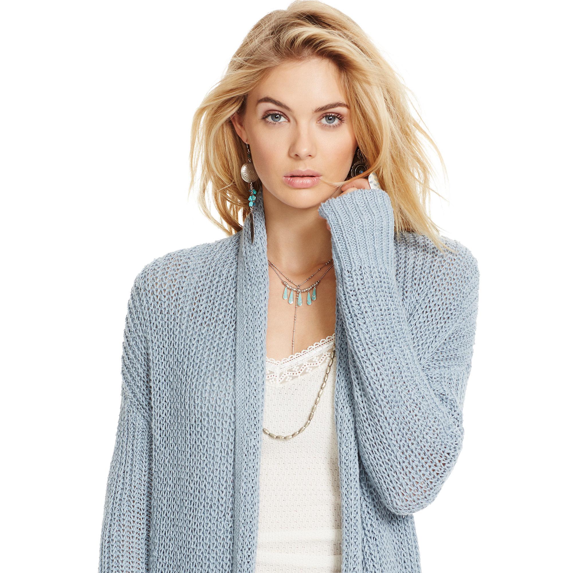 Lyst - Denim   Supply Ralph Lauren Cotton-linen Shawl Cardigan in Blue 2e423ad1e
