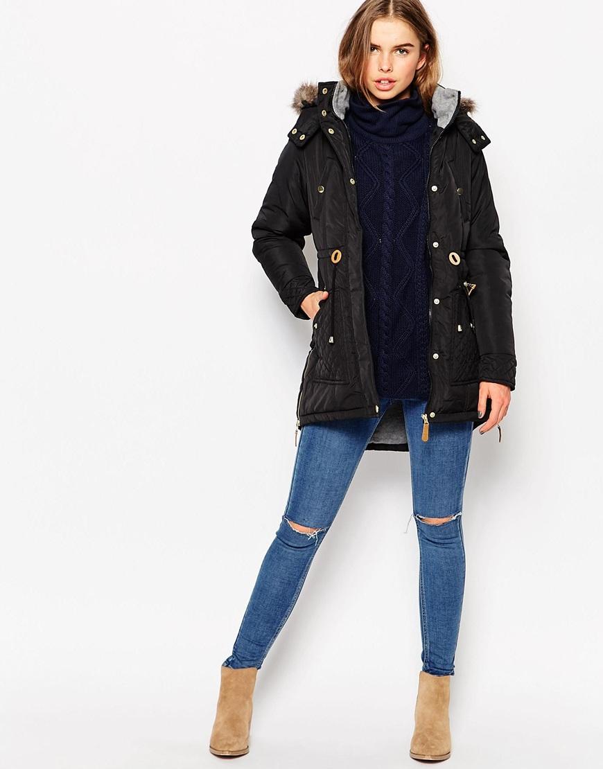 Lyst - Vero Moda Parka Jacket With Faux Fur Hood   Drawstring Waist ... f55ee8235401