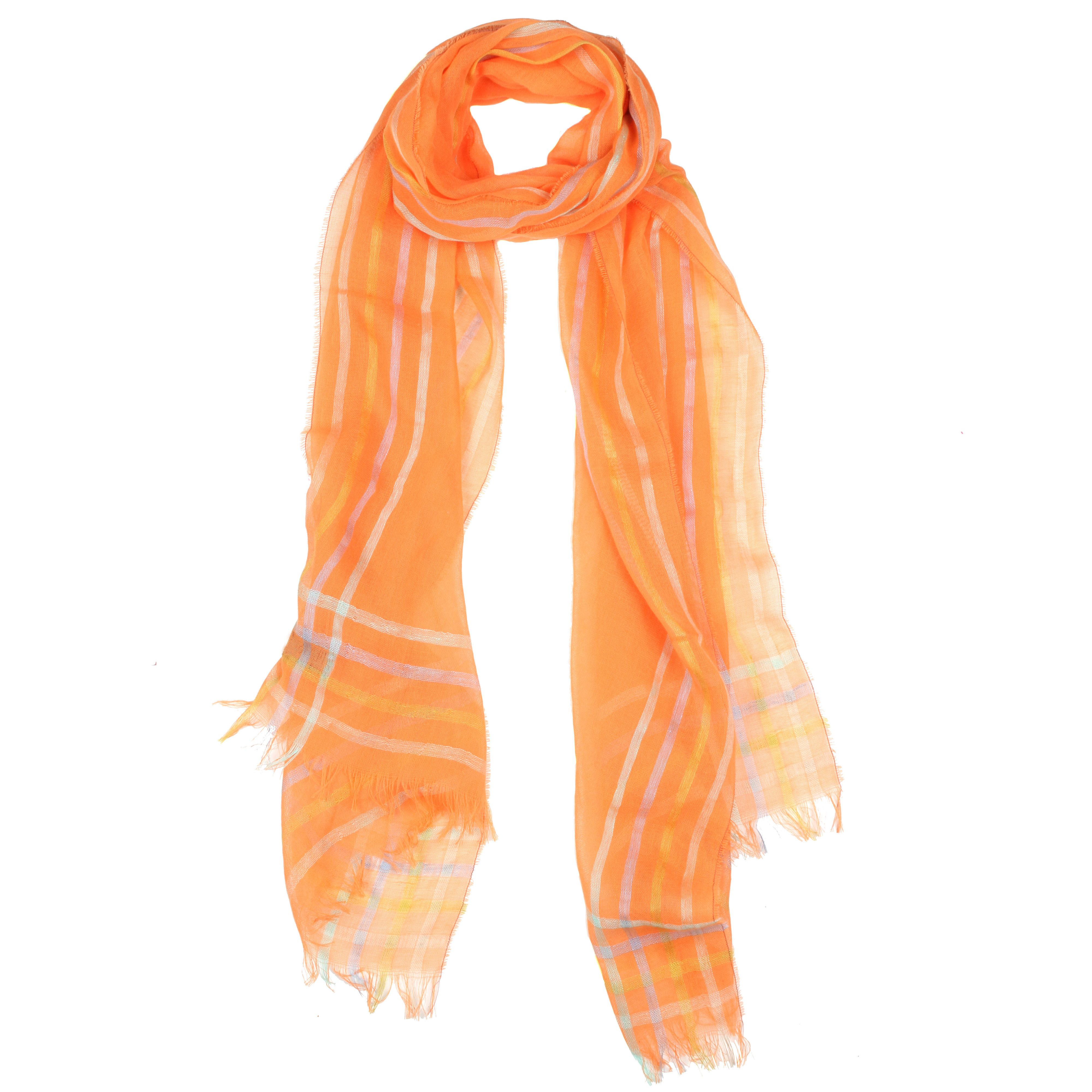 dents striped edge woven scarf in orange lyst