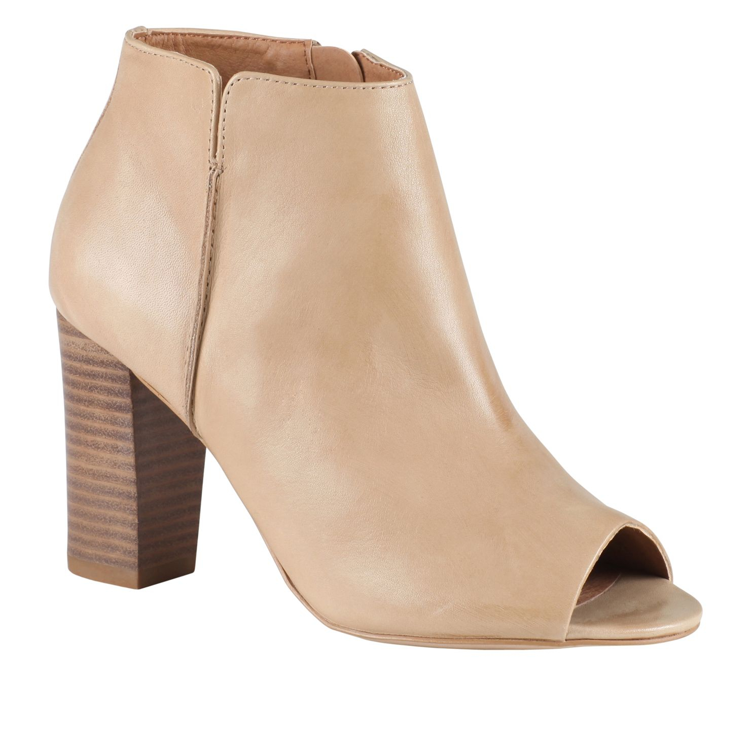 Aldo Baita Block Heel Peep Toe Ankle Boots in Natural | Lyst