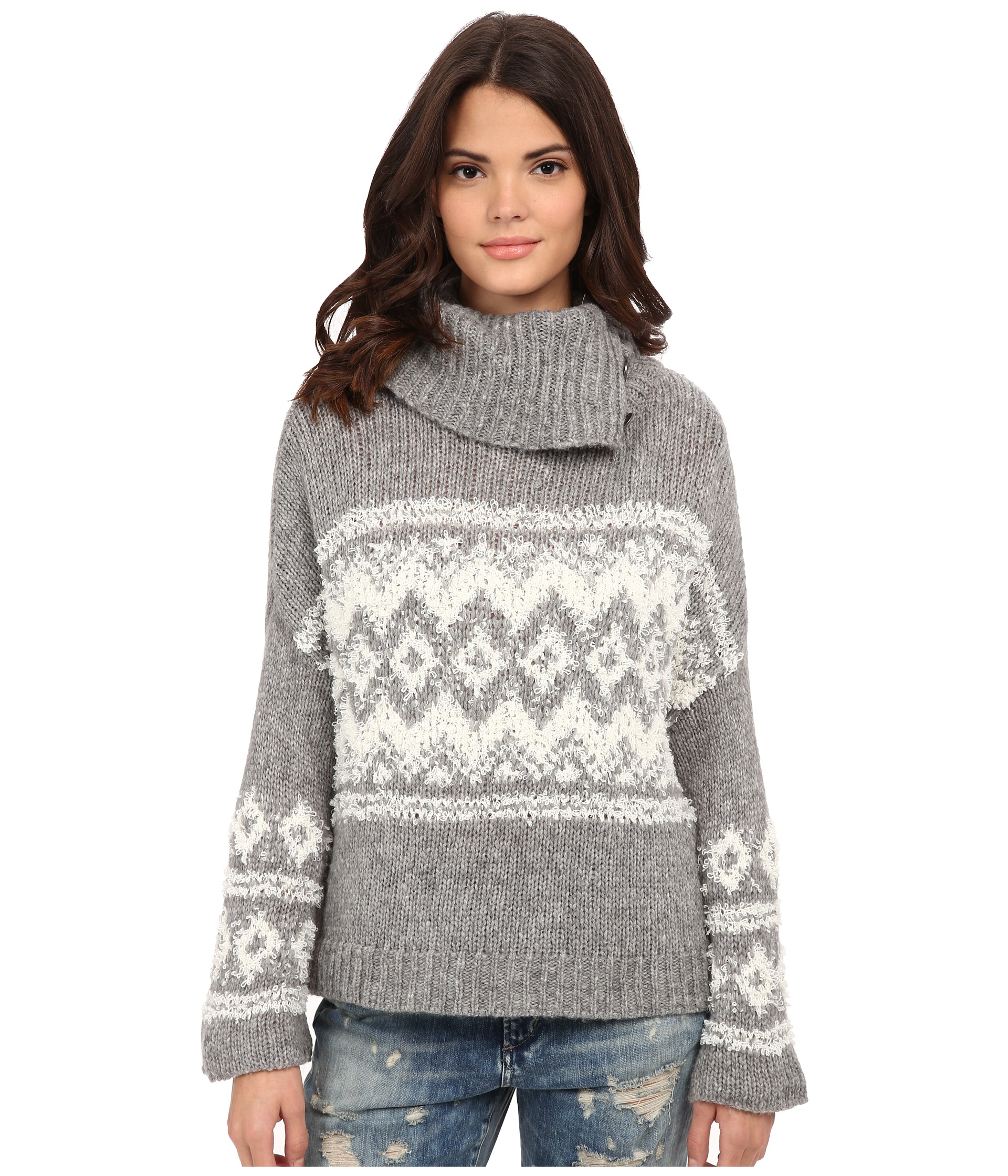 d3b30fb65 Lyst - Free People Fairisle Ragnar Split Neck Pullover in Gray