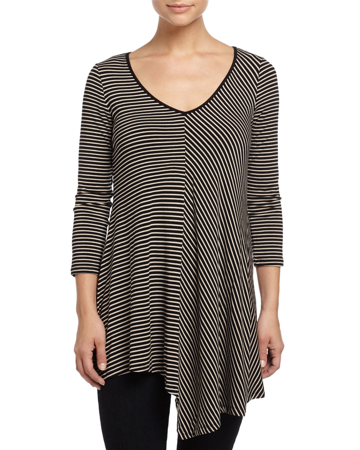 Joan Vass Three-quarter-sleeve Layered Top In Black