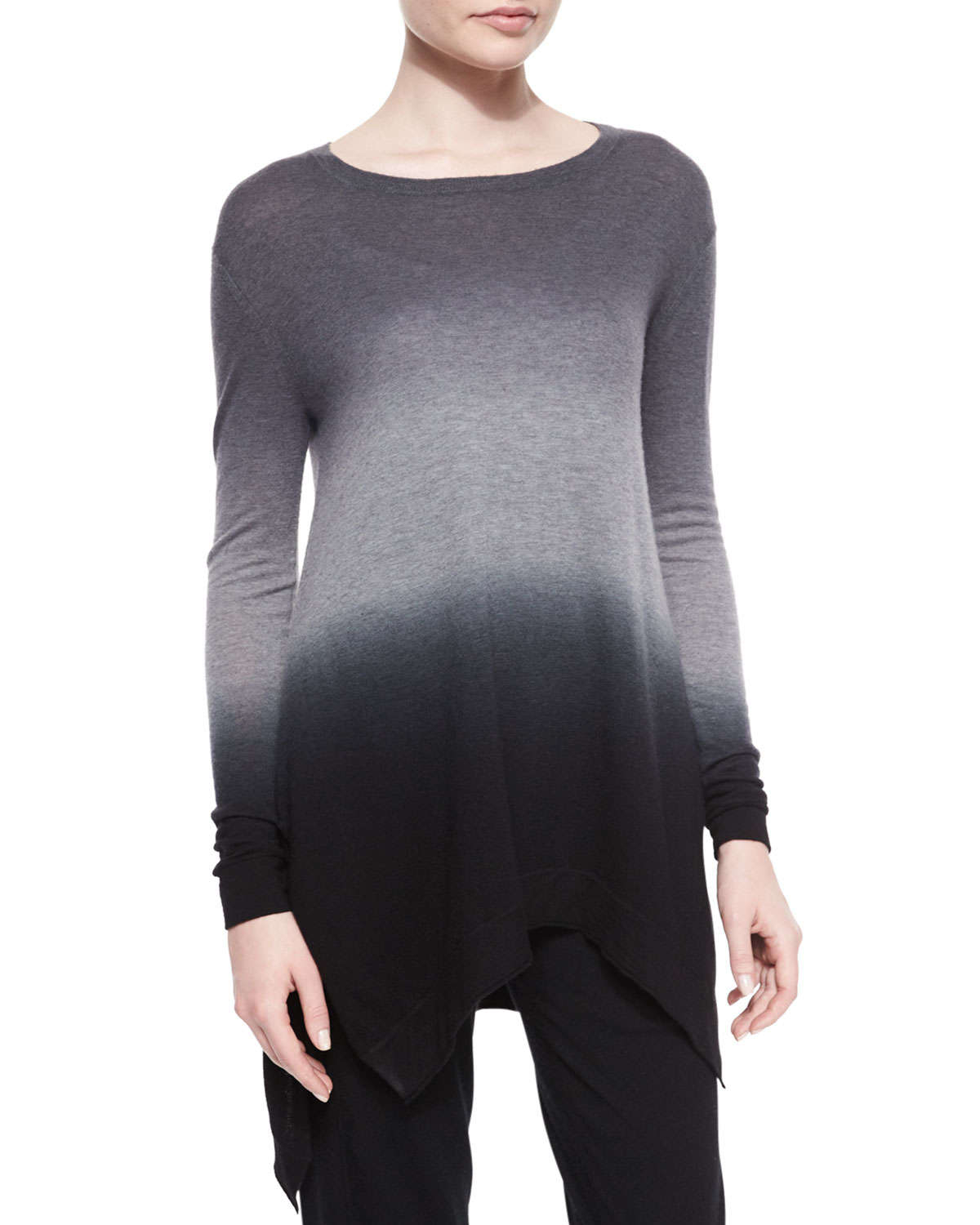 Donna karan Ombre Cashmere Tunic Sweater in Black | Lyst