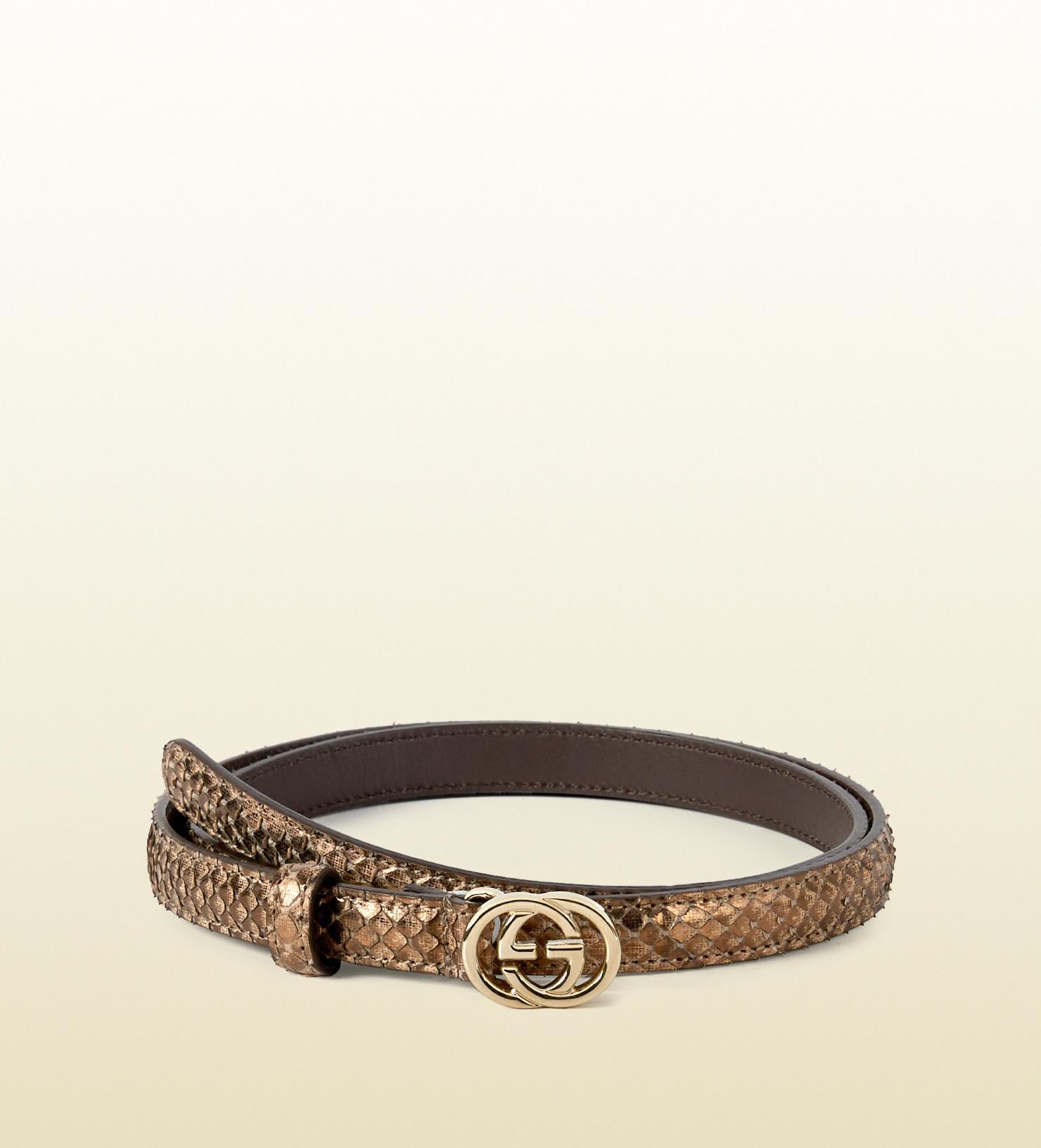 ed38db794 Gucci Python Skinny Belt With Interlocking G Buckle in Metallic - Lyst