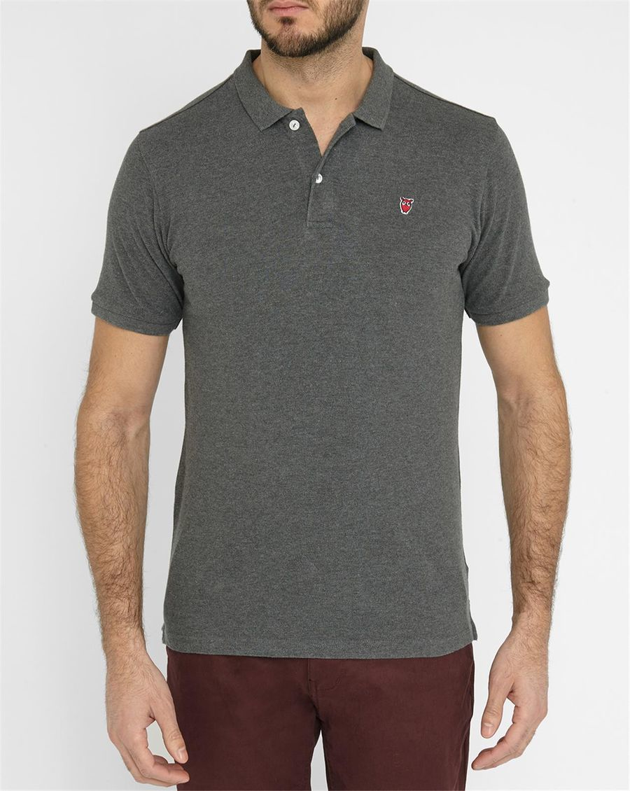 knowledge cotton apparel gray grey chouette cotton piqu polo shirt for men lyst. Black Bedroom Furniture Sets. Home Design Ideas