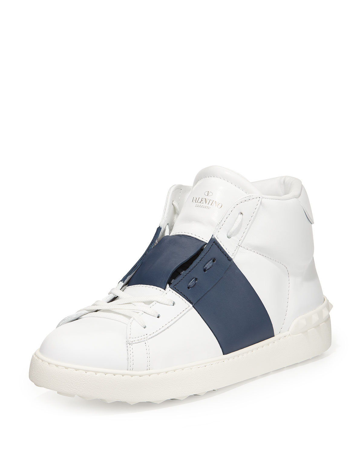 0611eec61dcb Lyst - Valentino Rockstud Leather High-top Sneaker in White for Men
