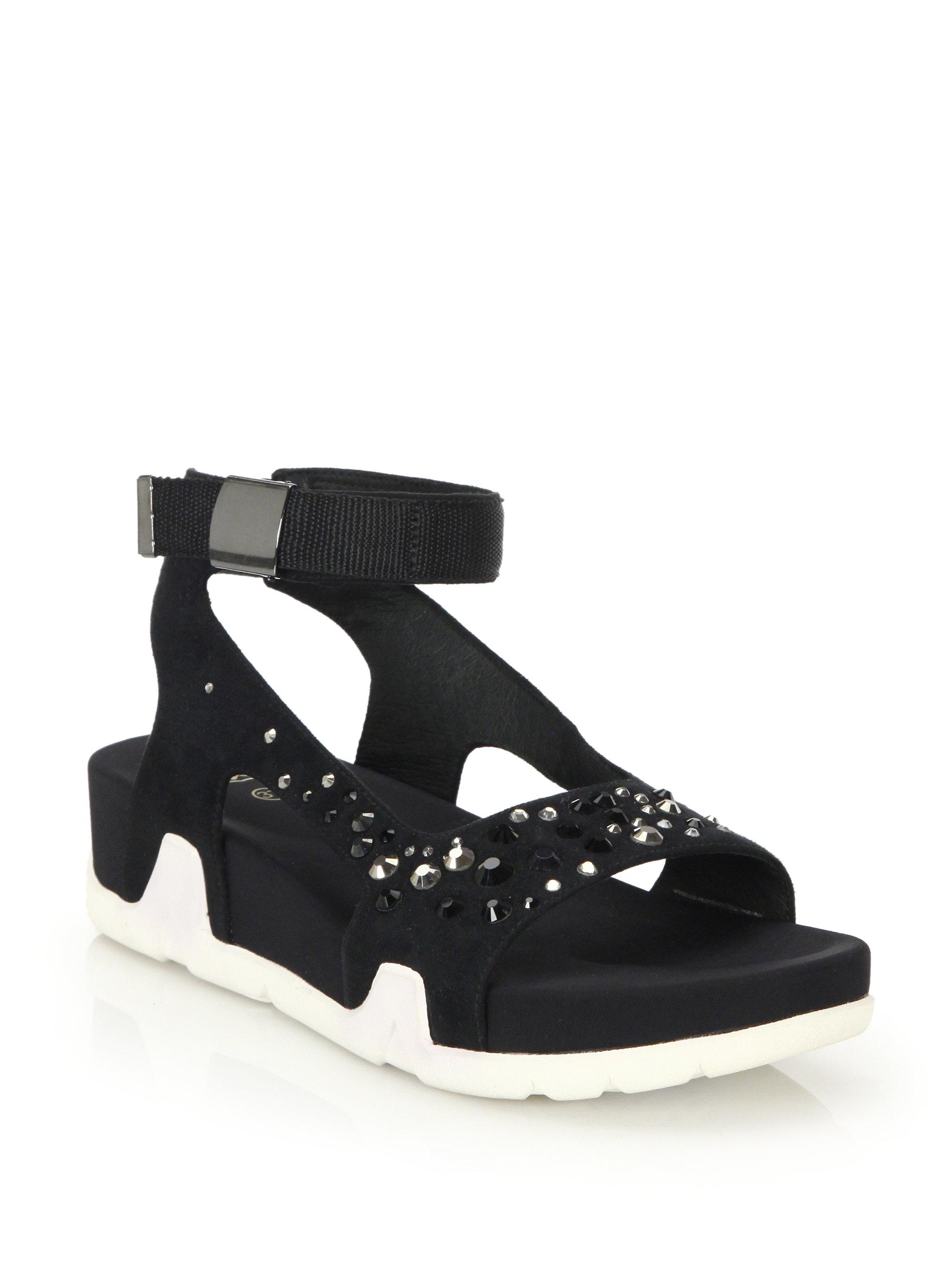 Lyst Ash Osaka Embellished Wedge Sandals In Black
