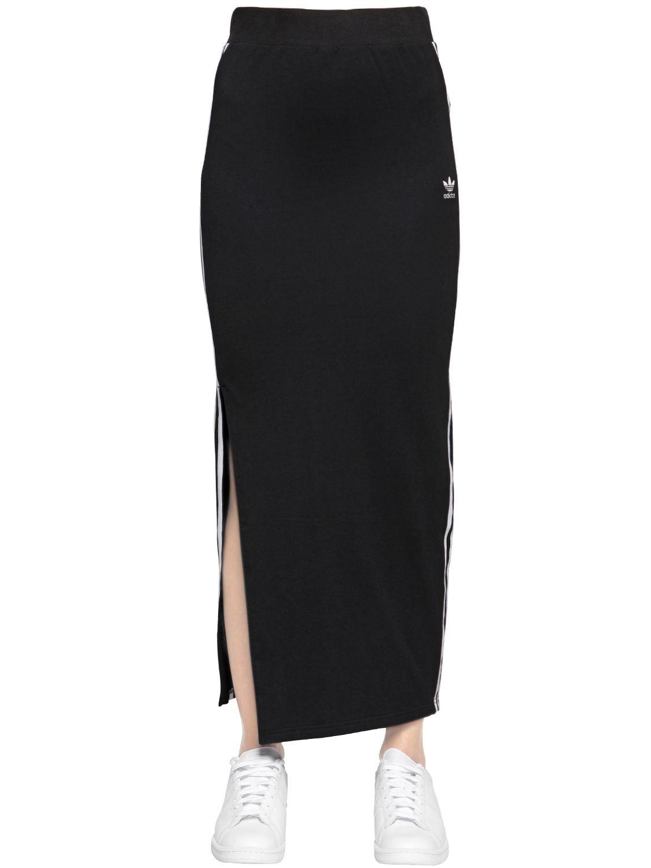 7207226bc0c adidas Originals Logo Stripes Cotton Jersey Skirt in Black - Lyst
