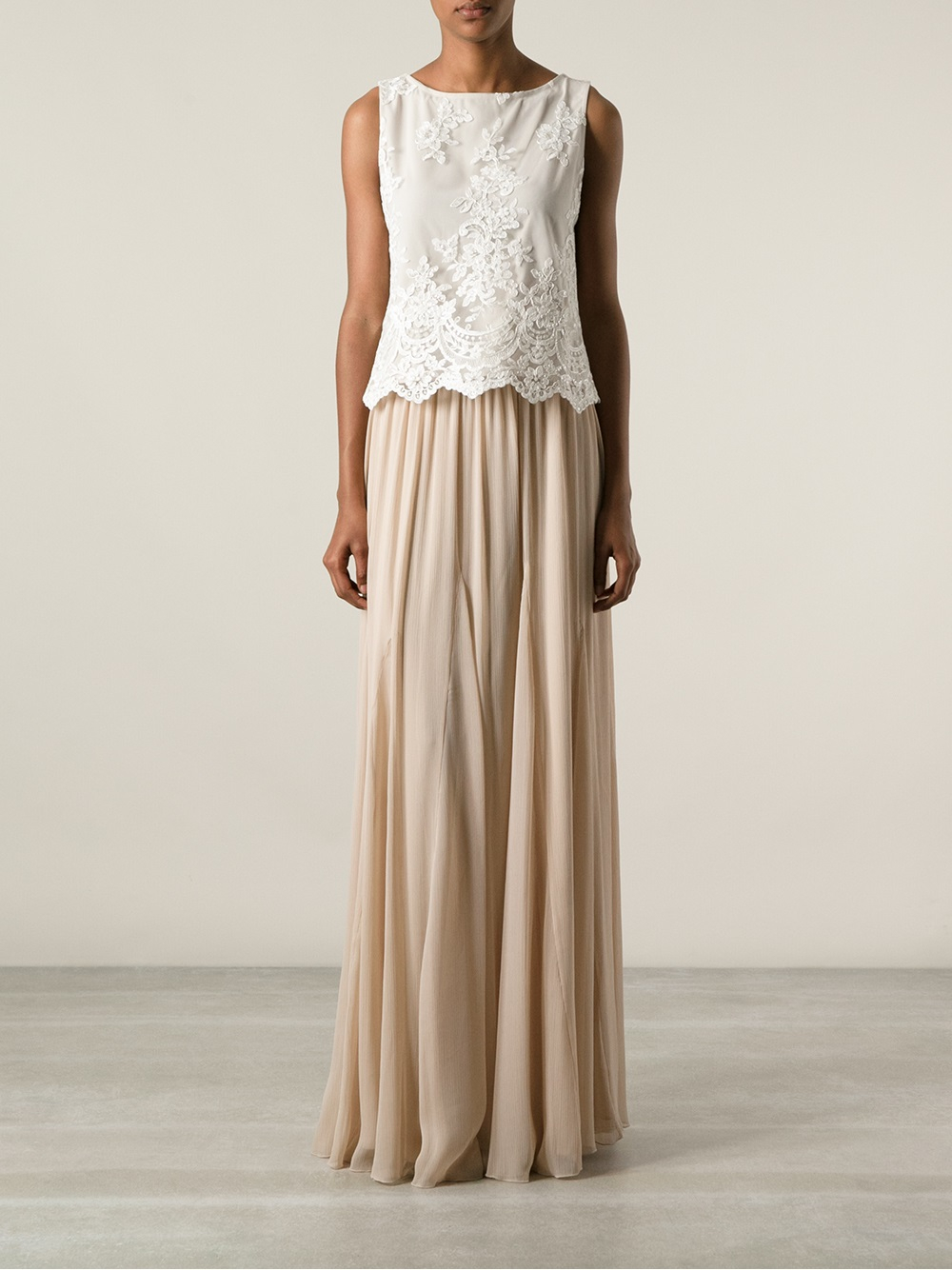Alice   olivia Maxi Skirt in Natural | Lyst