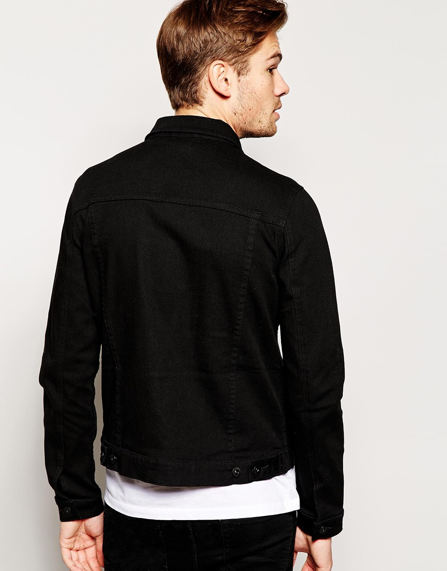e6713b026df ASOS Asos Denim Jacket In Skinny Fit in Black for Men - Lyst