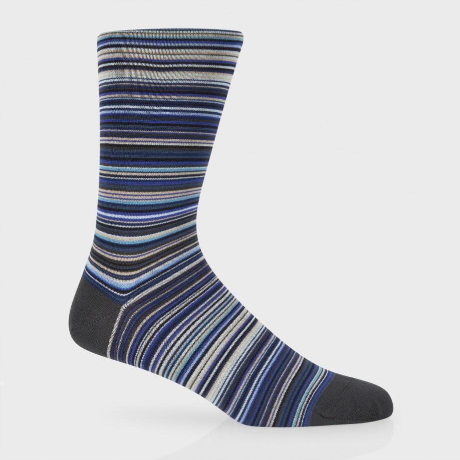 Paul Smith Sky Blue Signature Stripe Socks In Blue For Men