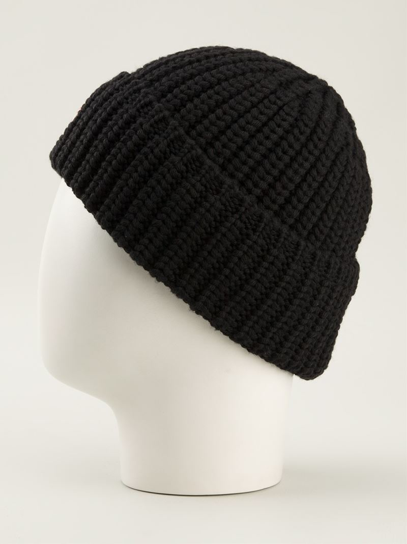 72560ba89 Lyst - Moncler Ribbed Knit Beanie Hat in Black for Men