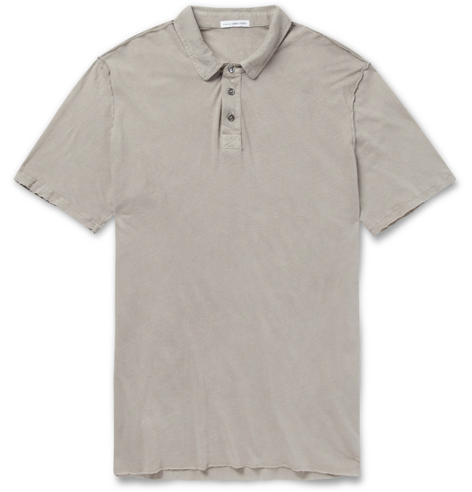 Lyst james perse slub linen and cotton blend polo shirt for Cotton linen polo shirts