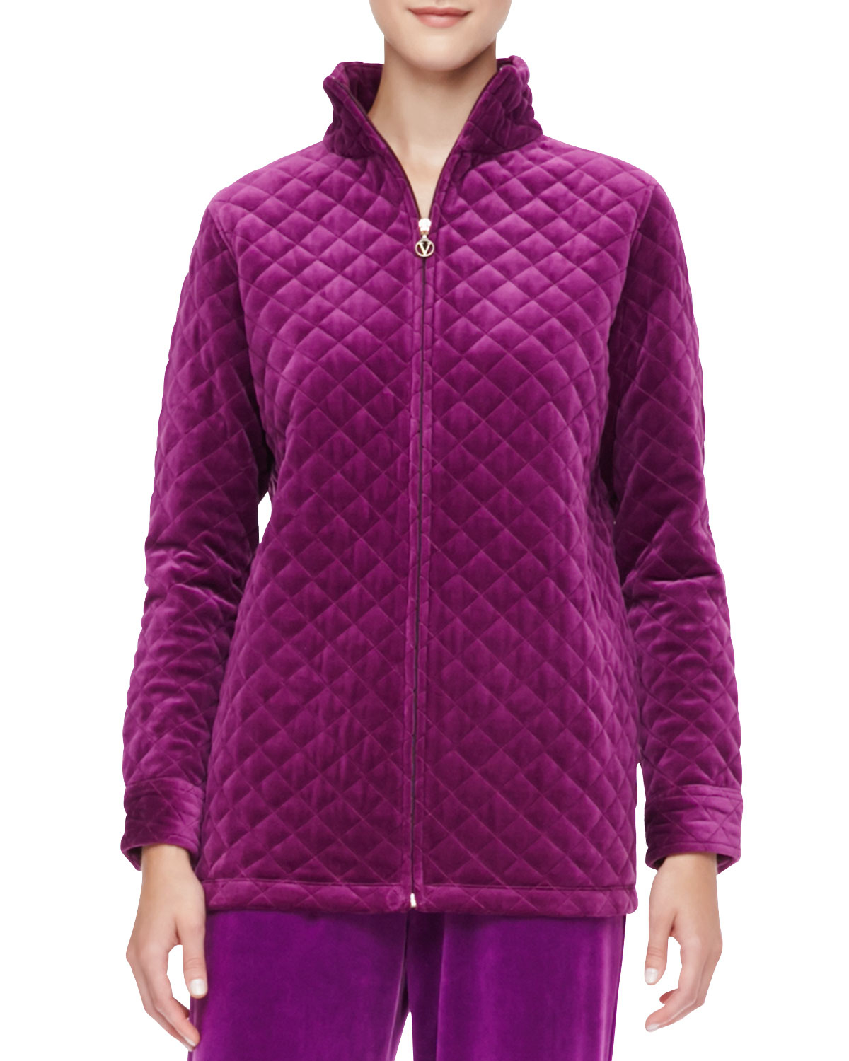 Joan Vass Quilted Velour Jacket In Purple Lyst