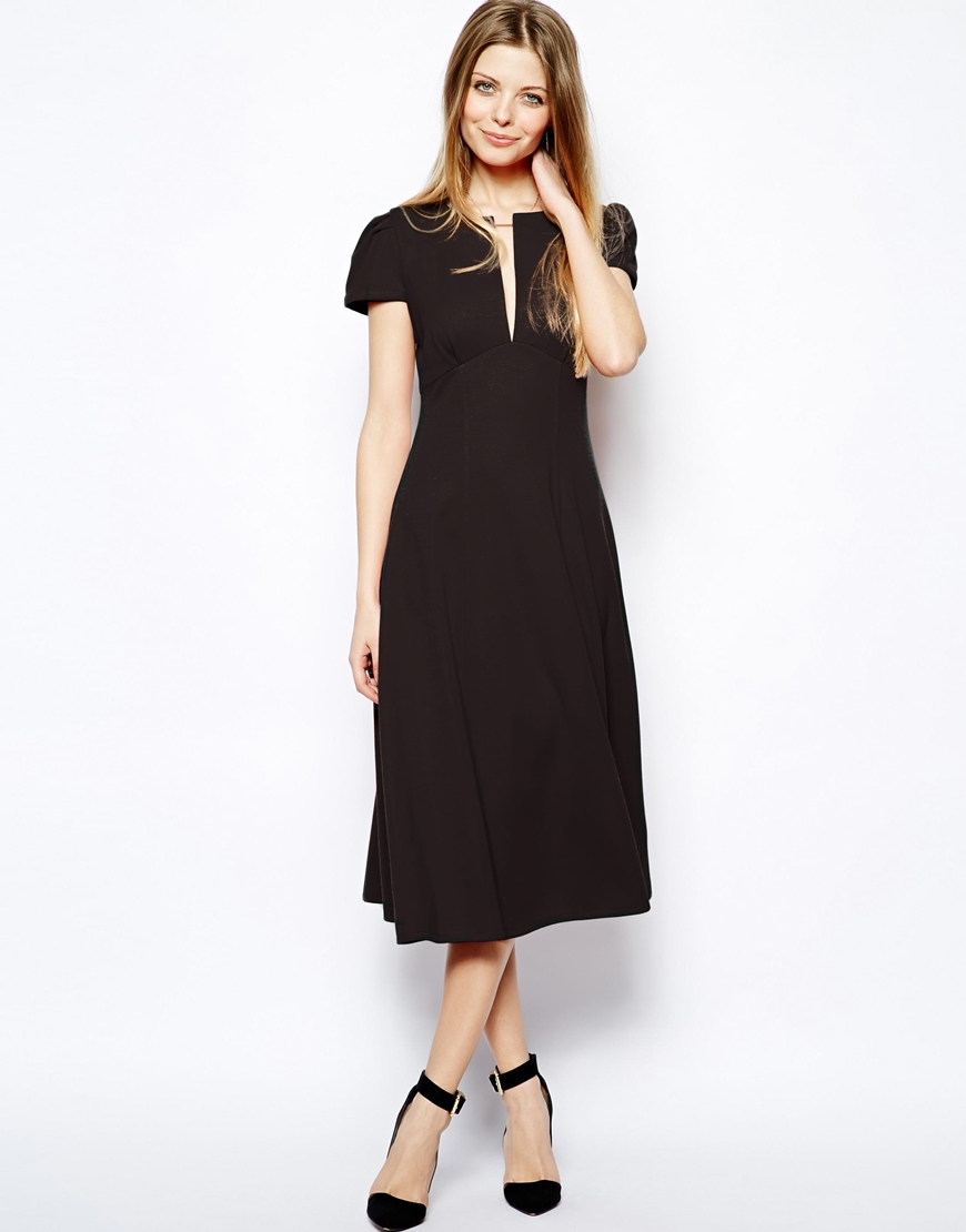 Lyst Asos Midi Dress With Fit And Flare Skirt In Black
