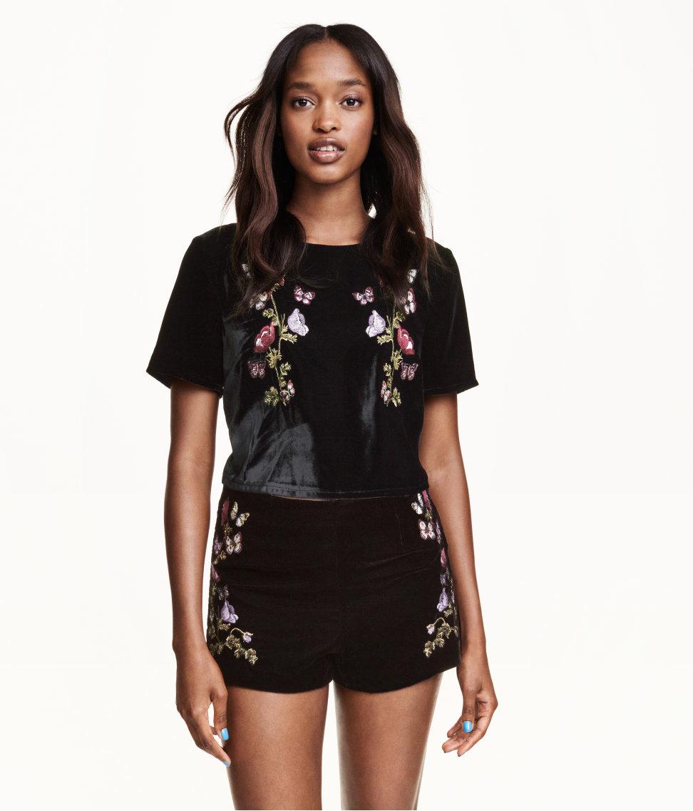 Hu0026m Embroidered Velvet Shorts in Black   Lyst