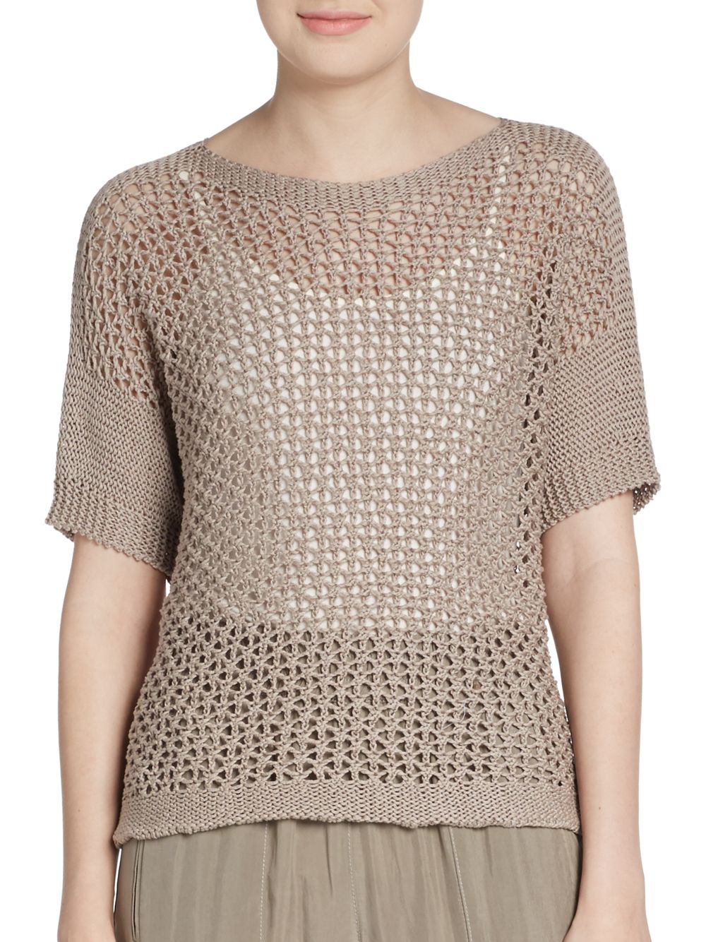 Peserico Open Weave Knit Pullover in Natural | Lyst