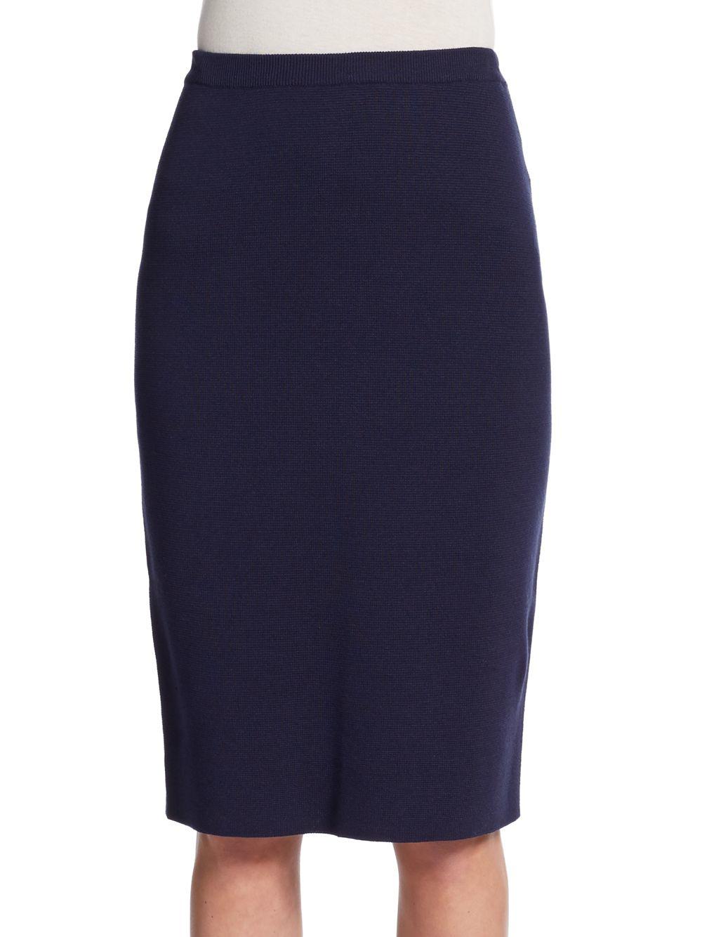 eileen fisher silk cotton pencil skirt in blue lyst