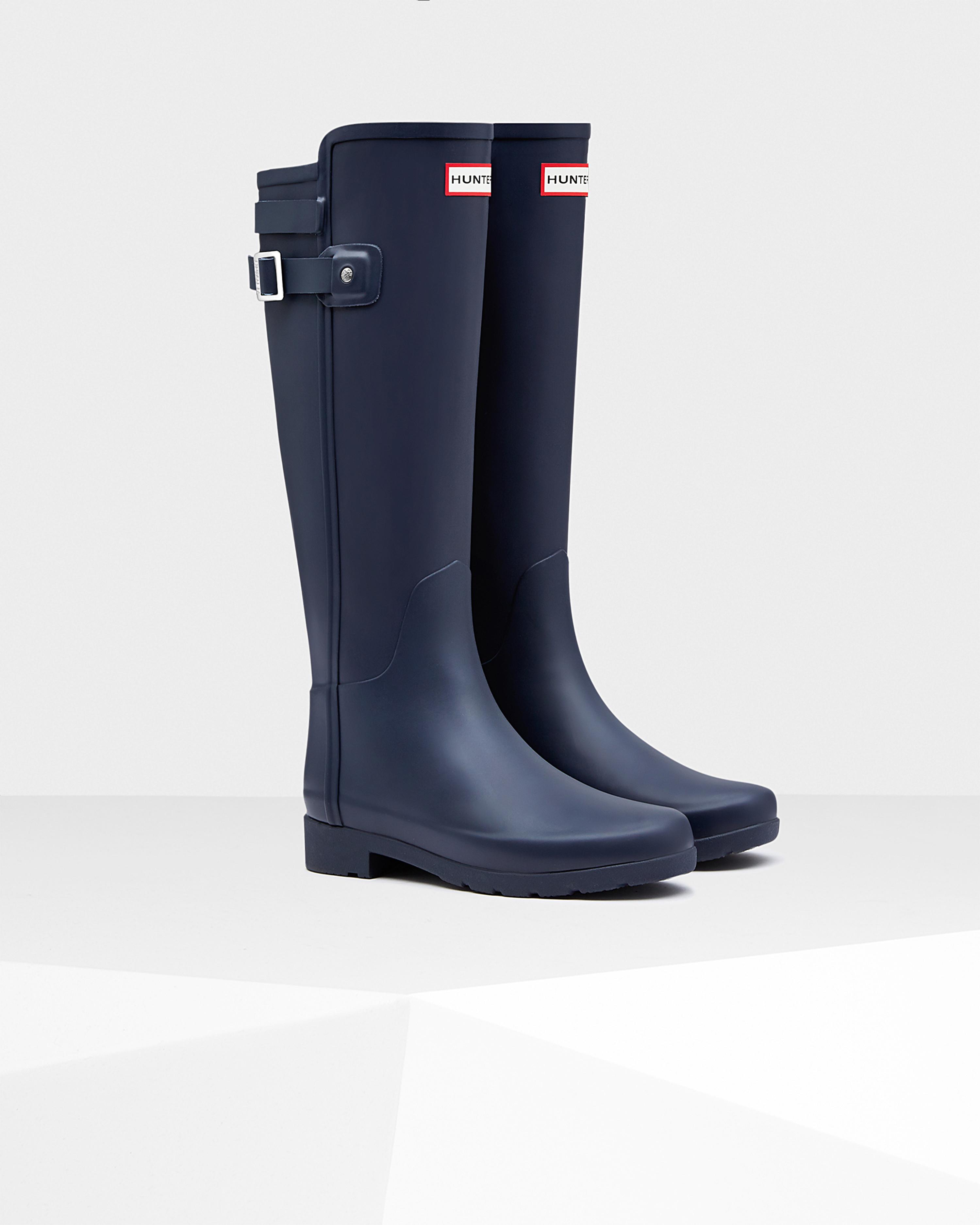 Hunter Womens Original Refined Back Strap Rain Boots In Blue  Lyst