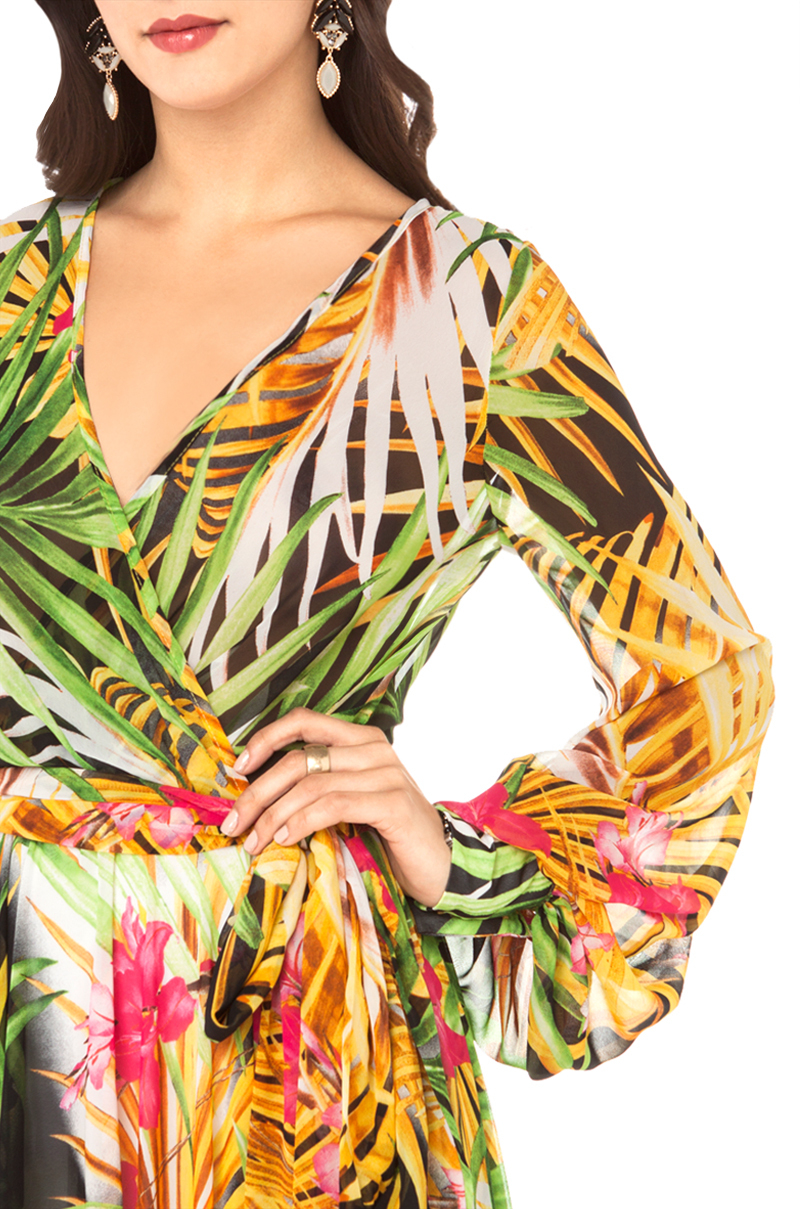 yellow dress flowy lyst akira black label tropical print flowy maxi dress 9150