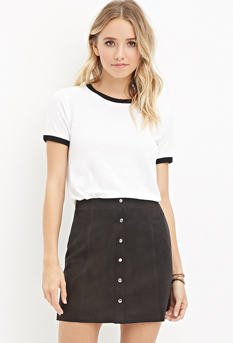 Forever 21 Buttoned Faux Suede Skirt in Black | Lyst