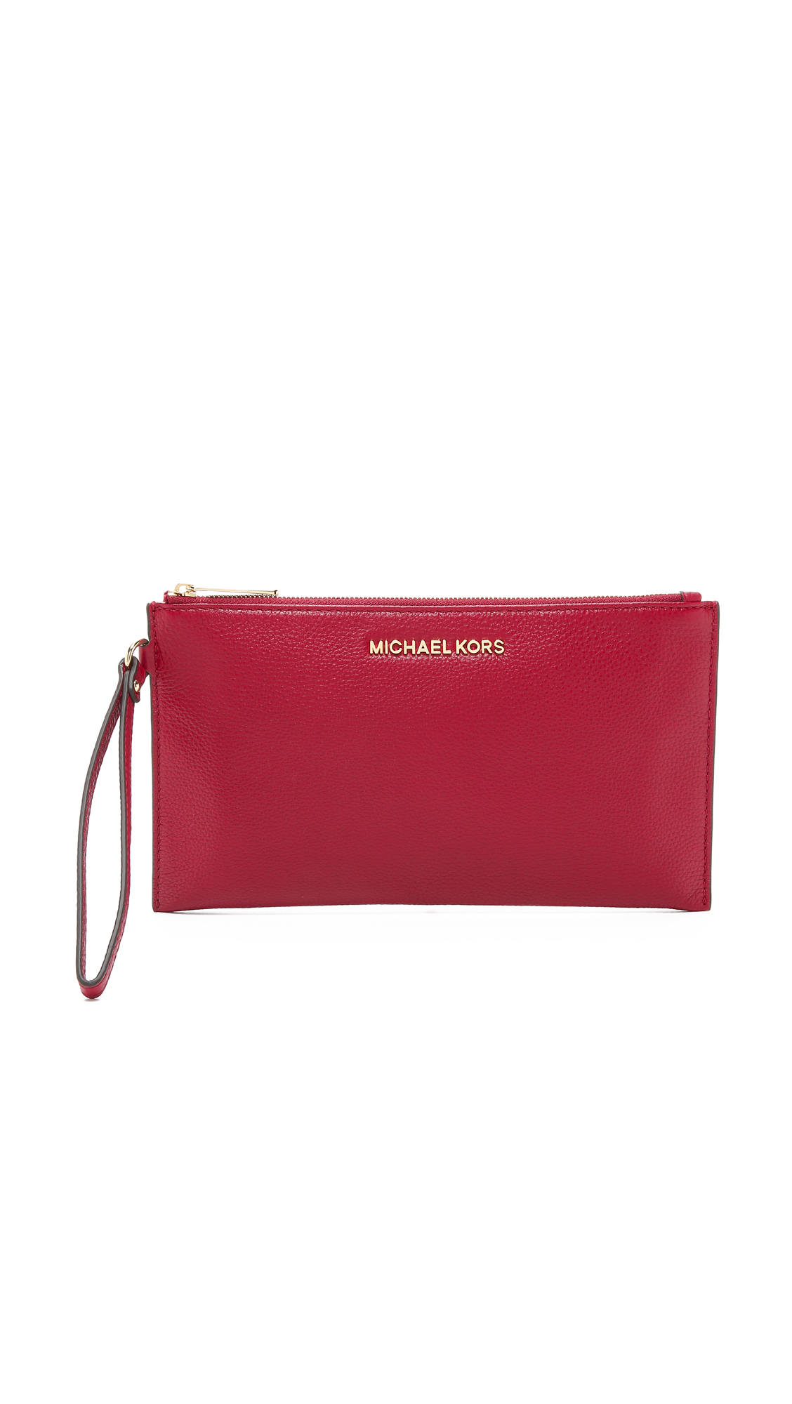 7259d65ae15c1 Lyst - MICHAEL Michael Kors Bedford Large Zip Clutch - Cherry in Red