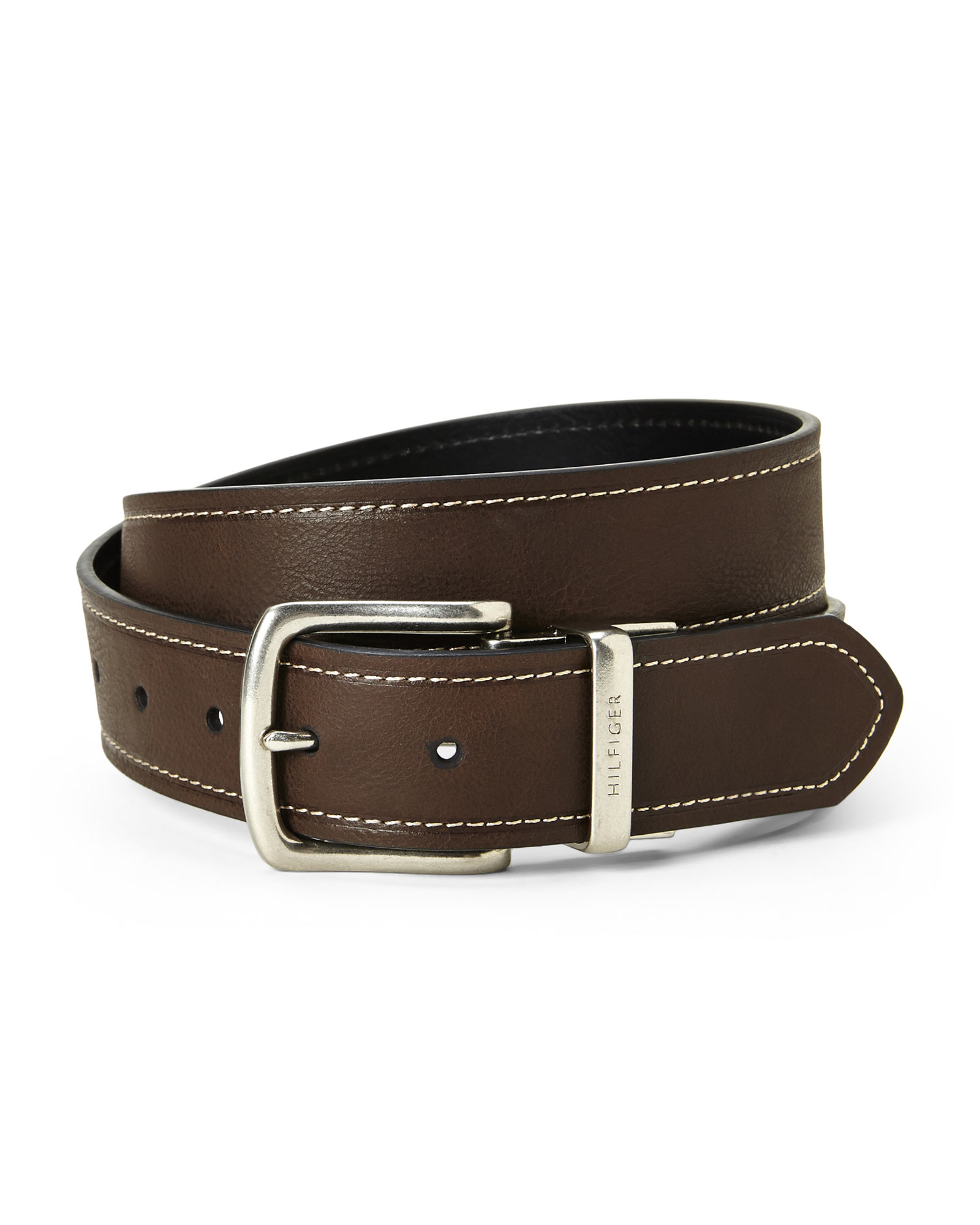 hilfiger brown black reversible belt in brown