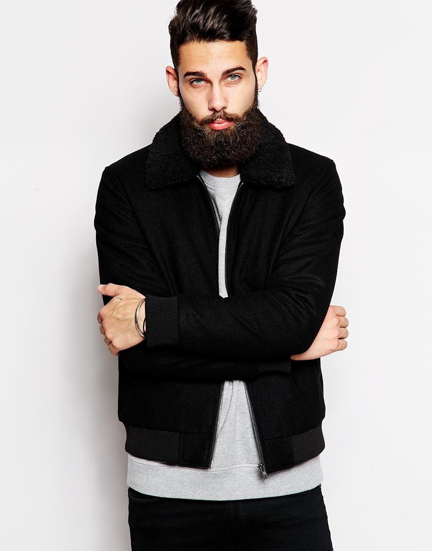f283d2650ac Lyst - ASOS Wool Harrington Jacket With Borg Collar in Black for Men