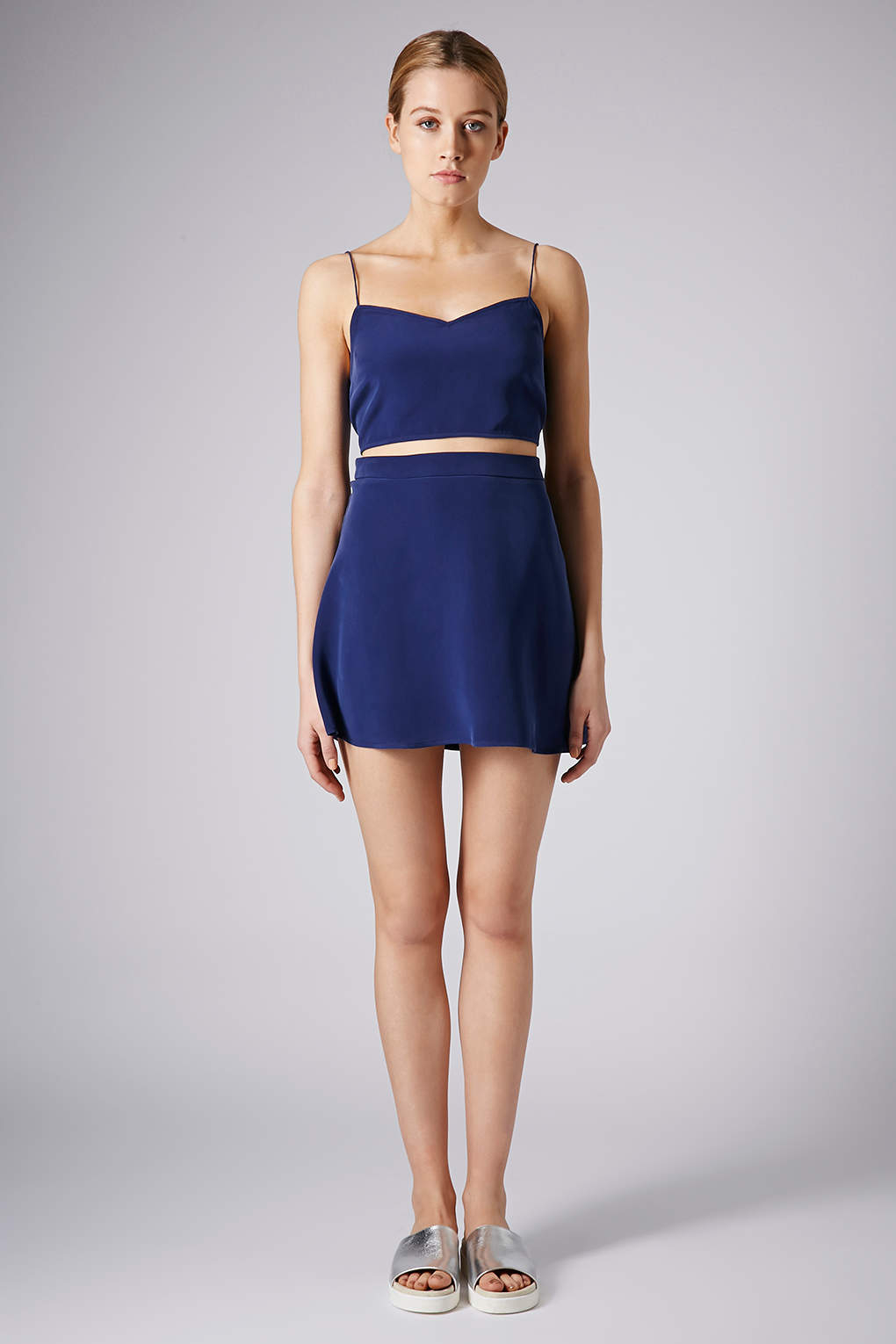 topshop sandwashed silk skirt by boutique in blue navy