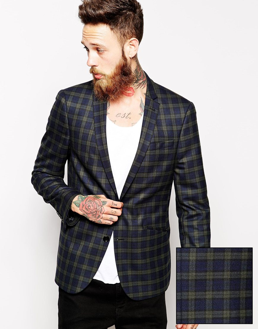 Asos Slim Fit Blazer In Tartan in Green for Men | Lyst