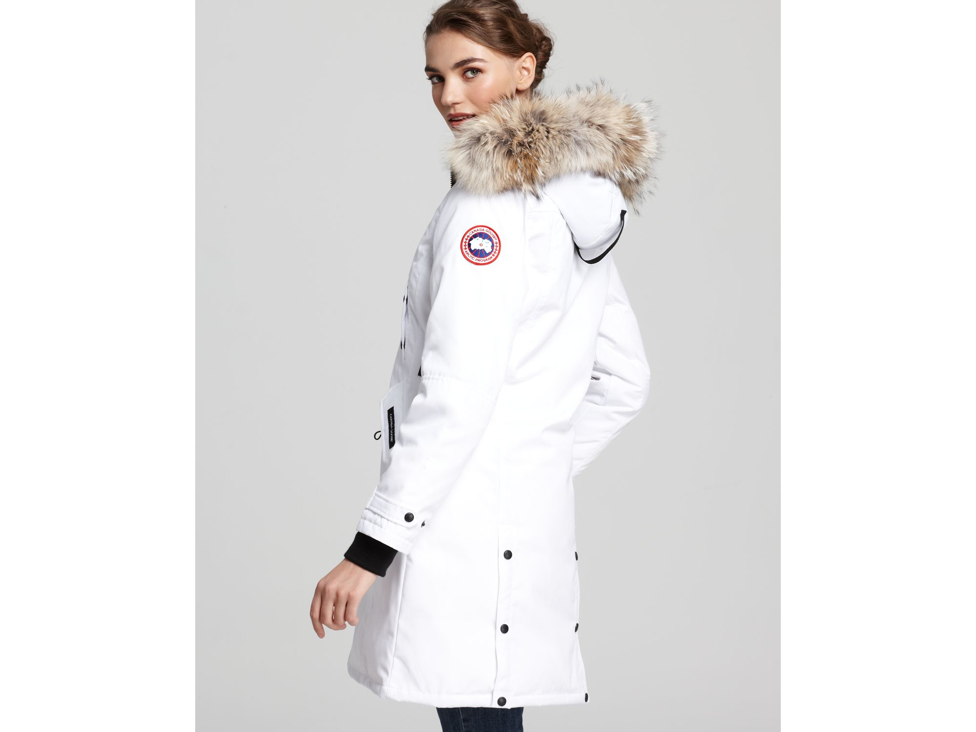 authentic canada goose kensington parka white womens for sale