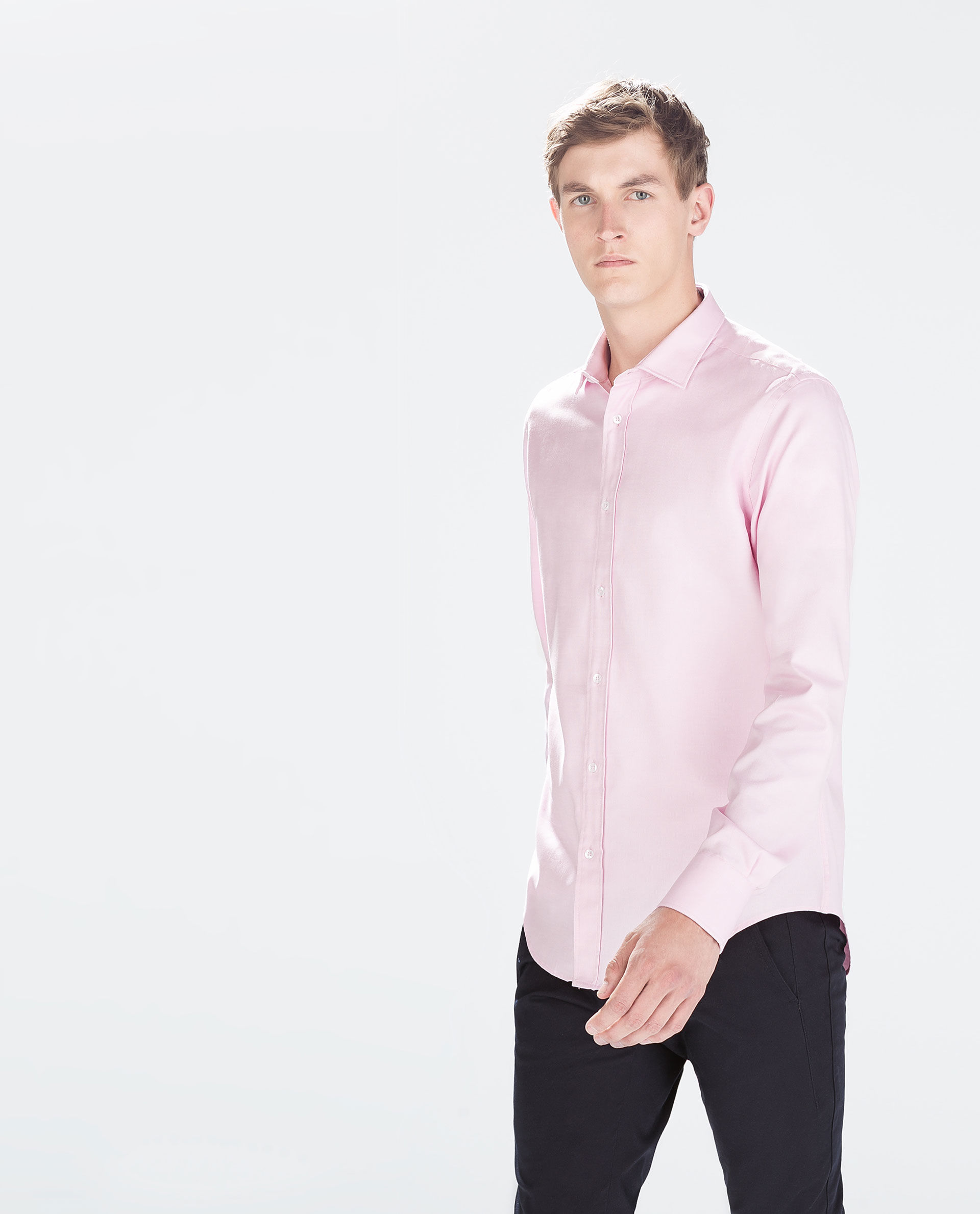Zara oxford shirt in pink for men lyst for Pink oxford shirt men