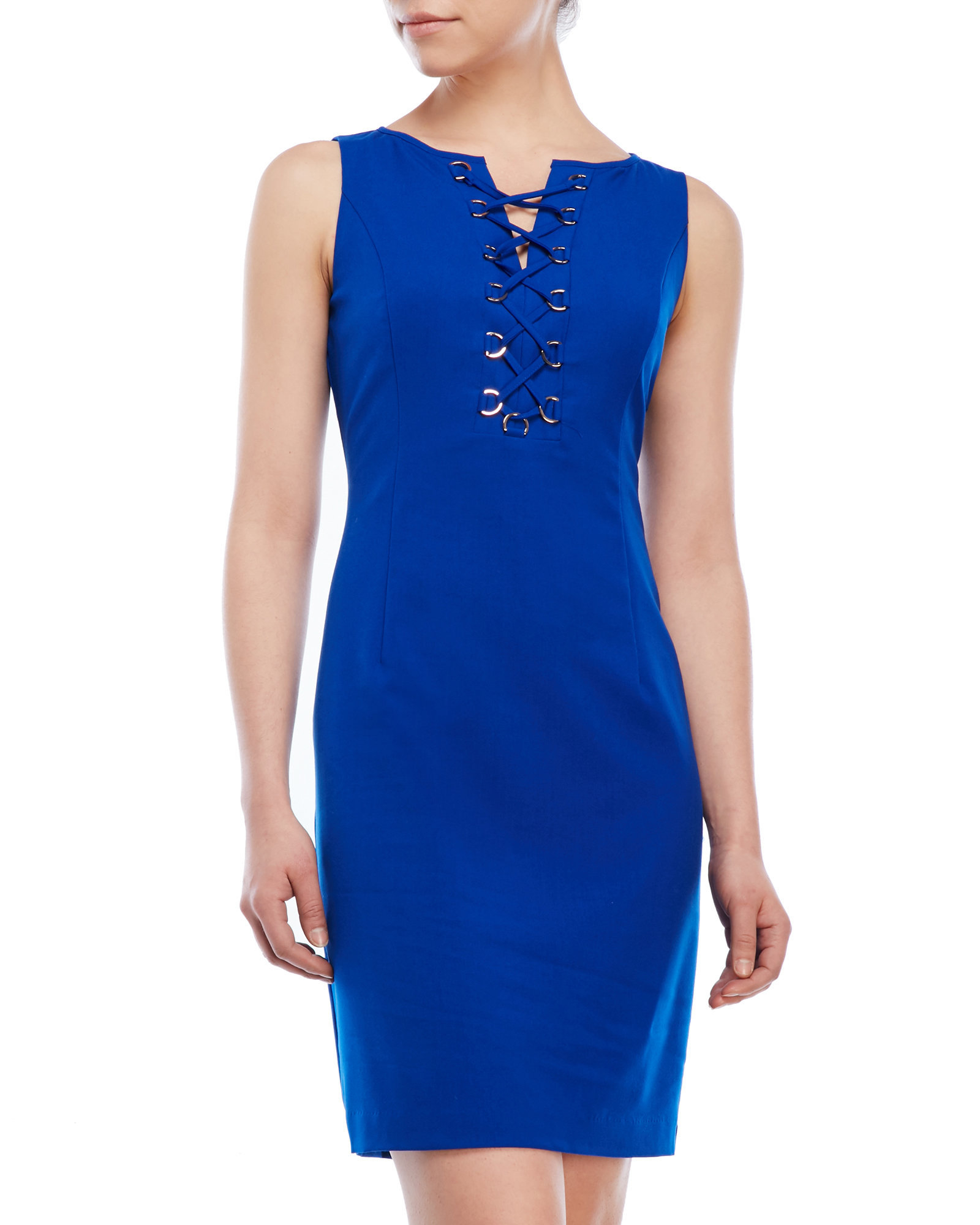 Ivanka trump lace up front sheath dress in blue lyst