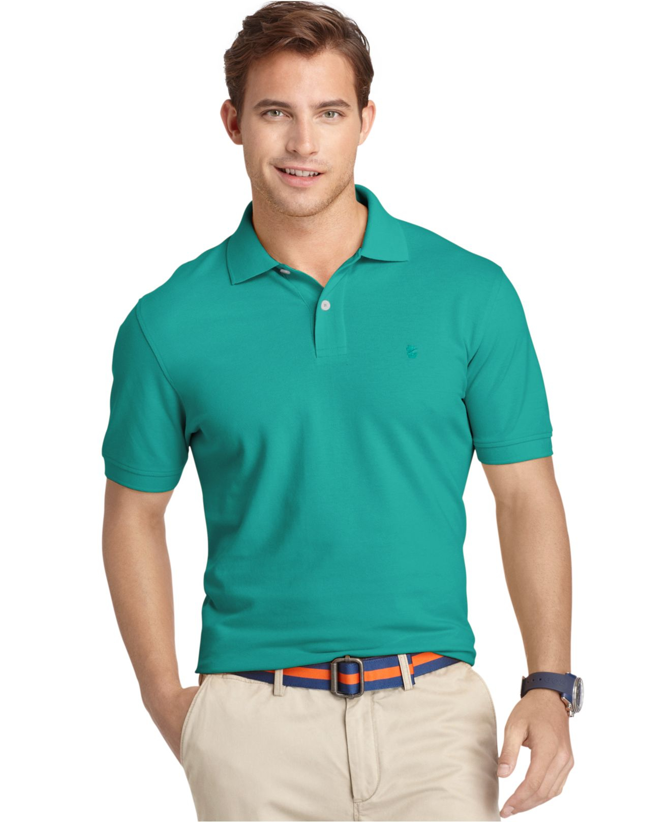 Izod premium pique polo shirt in teal for men green blue for Mens teal polo shirt