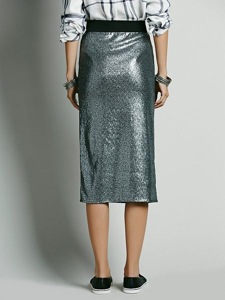 free disco sequin pencil skirt in silver lyst