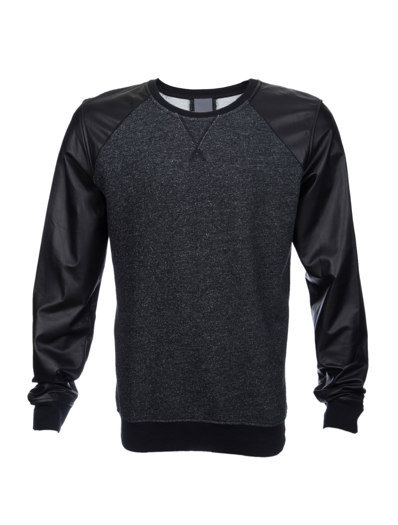This long sleeve shirt features a round neck and faux leather panel sleeves, making it a cool modern shirt. It look NEW Kenneth Cole Reaction Long Sleeve Sweatshirt Men's Small Black Leather Look.