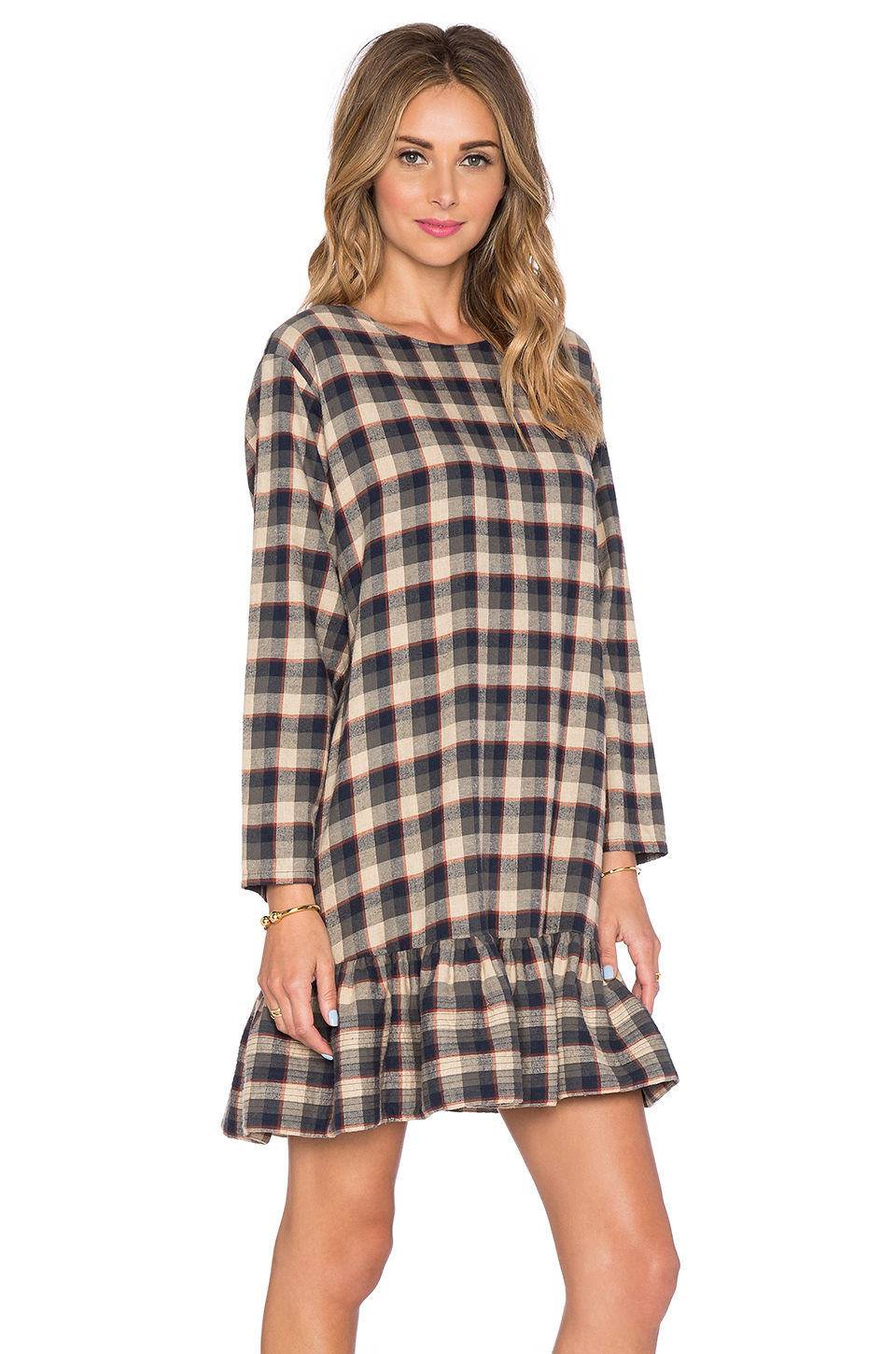 The great The Drop Ruffle Dress - Navy Check in Blue - Lyst
