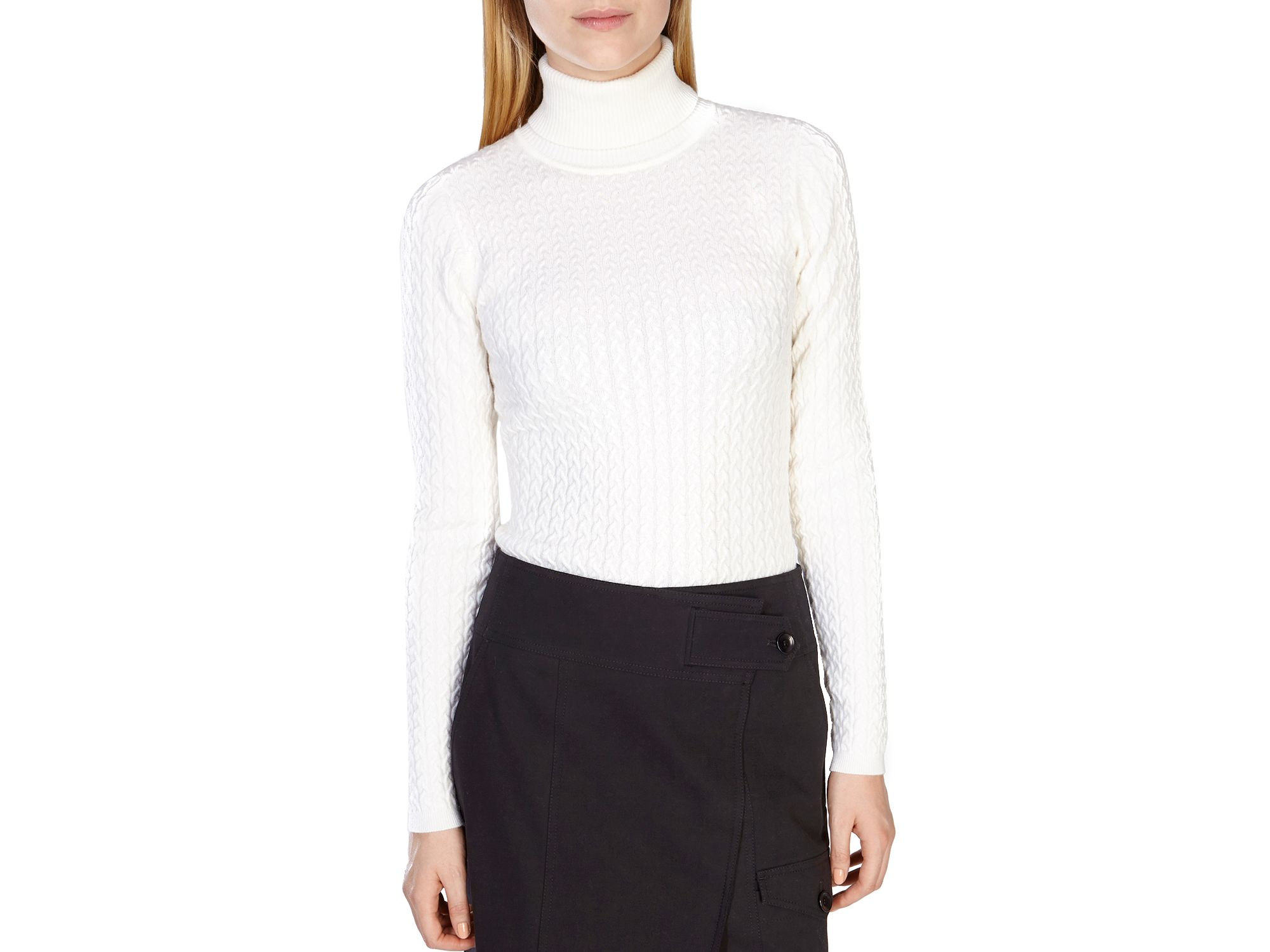 Karen millen Fine Gauge Cable Knit Sweater in White | Lyst