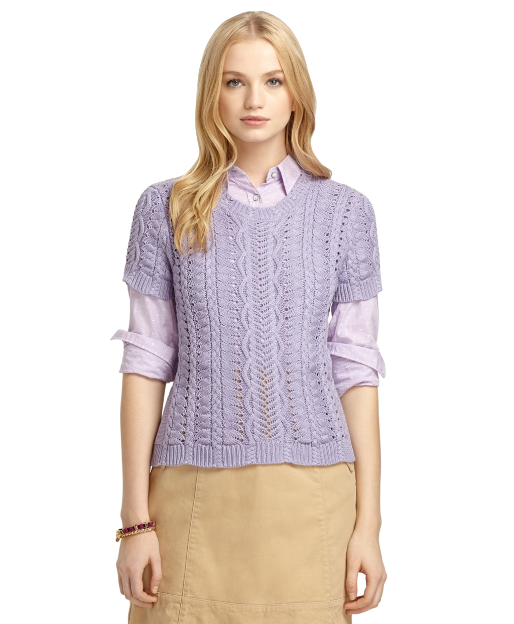 Lyst Brooks Brothers Short Sleeve Cable Knit Crewneck