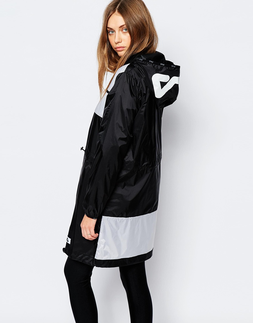 Fila Hooded Festival Parka Jacket in Black | Lyst