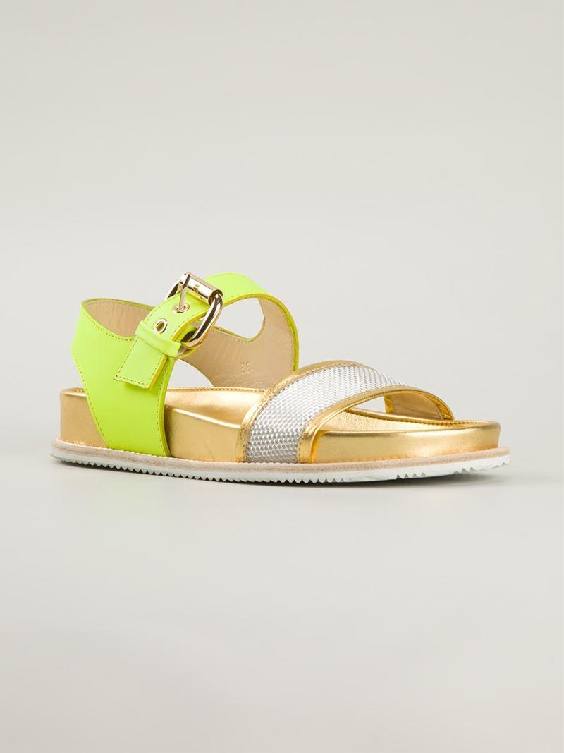 Lyst - Pollini 'Neon Birk' Sandals in Yellow