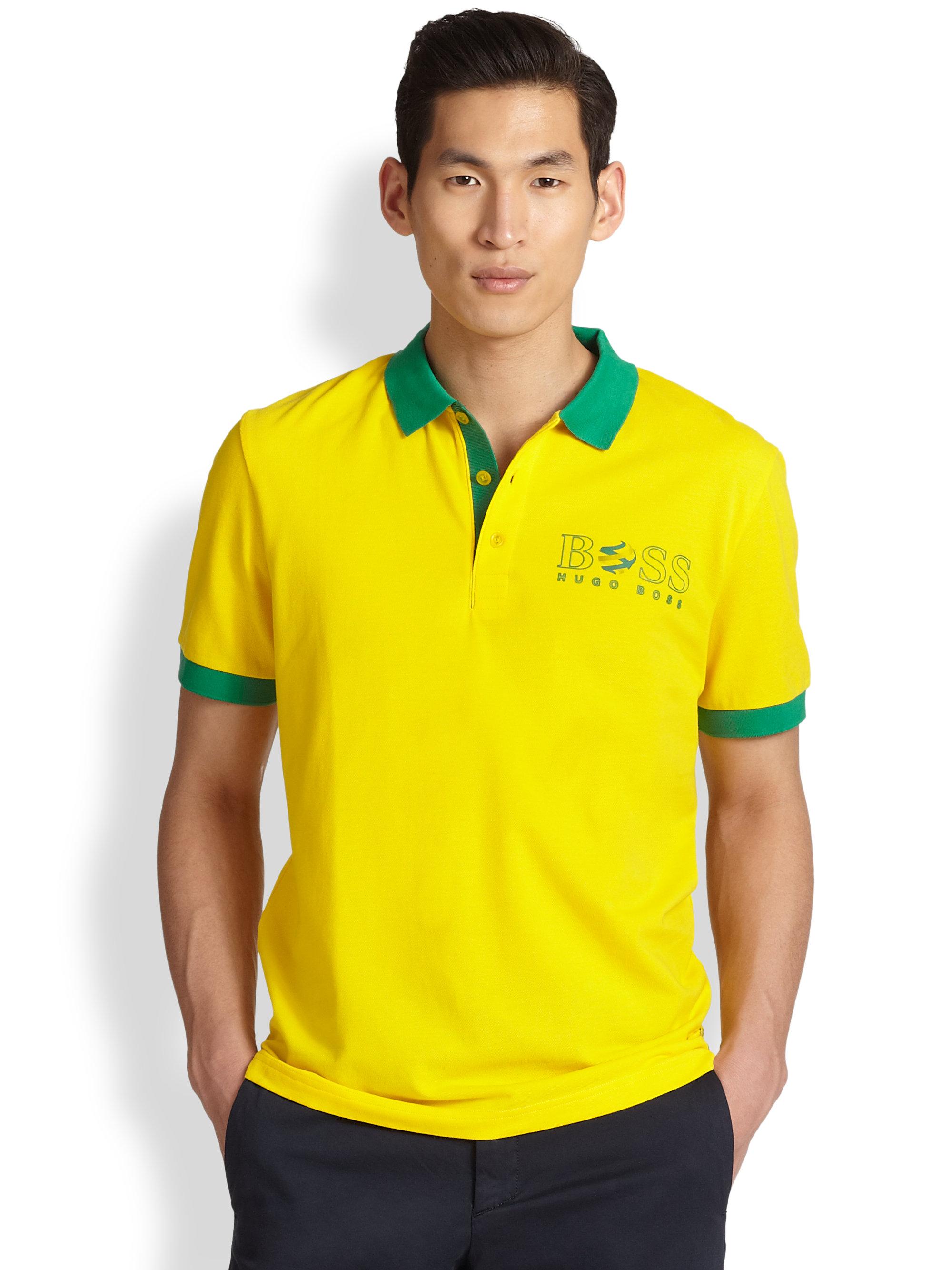 lyst boss green paddy flag brazil polo shirt in yellow