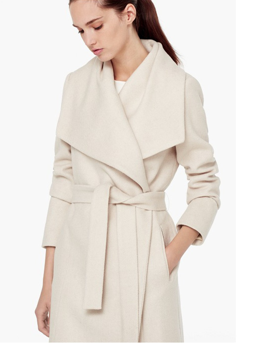 Mango Flap Wool Blend Coat In Natural Lyst