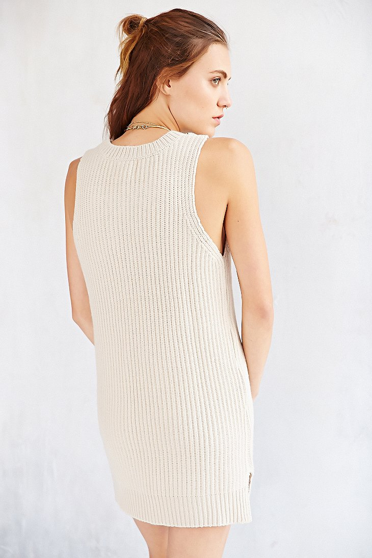 f70be98a188a Lyst - Silence + Noise Sleeveless Double-Slit Sweater Dress in White