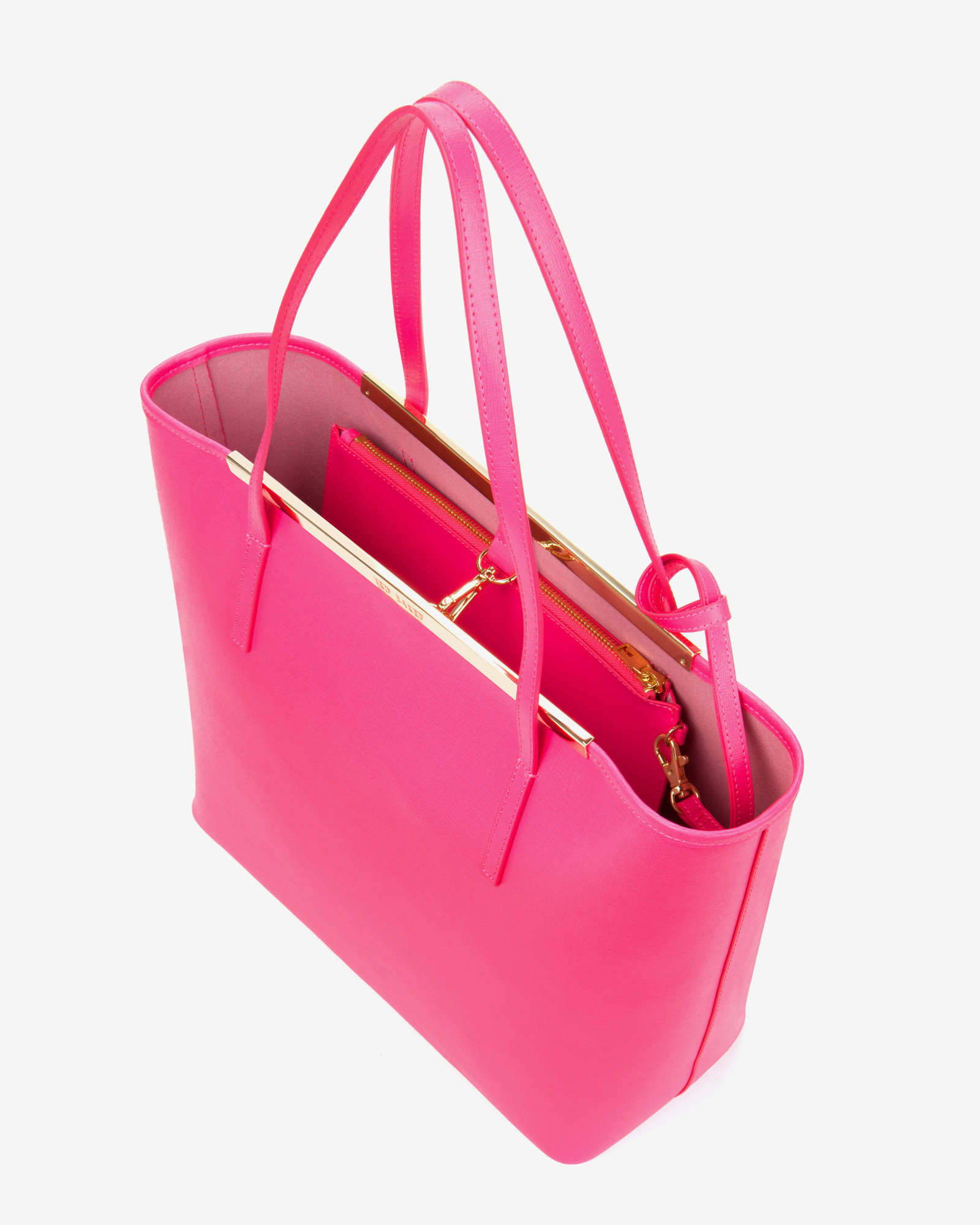 9c268448e67468 Ted Baker Crosshatch Leather Shopper Bag in Pink - Lyst