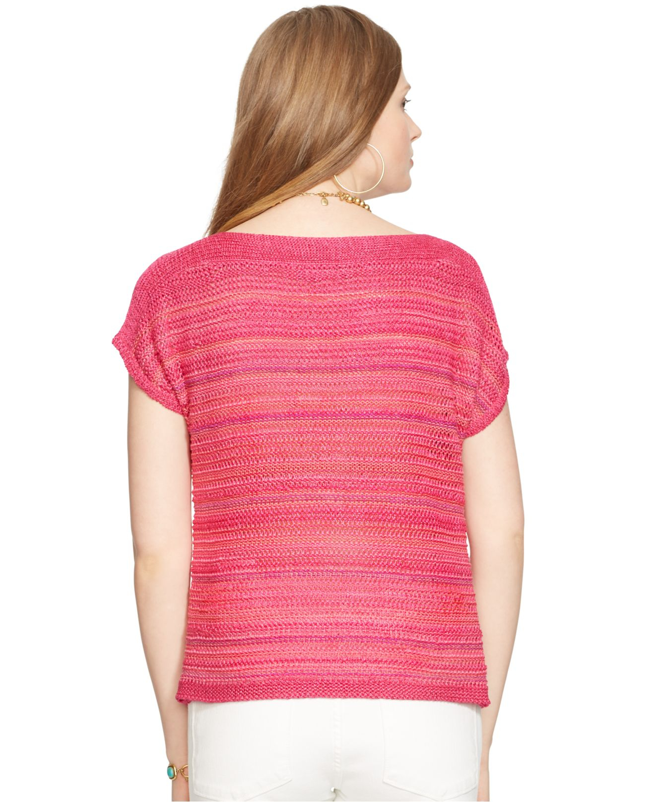 Lauren by ralph lauren Short-Sleeve Marled Sweater in Pink | Lyst
