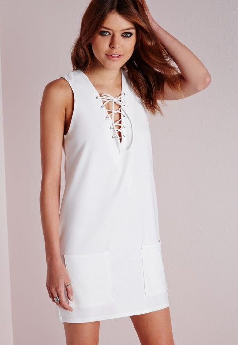 4ef2920a27e9 Lyst - Missguided Plunge Lace Up Shift Dress White in White