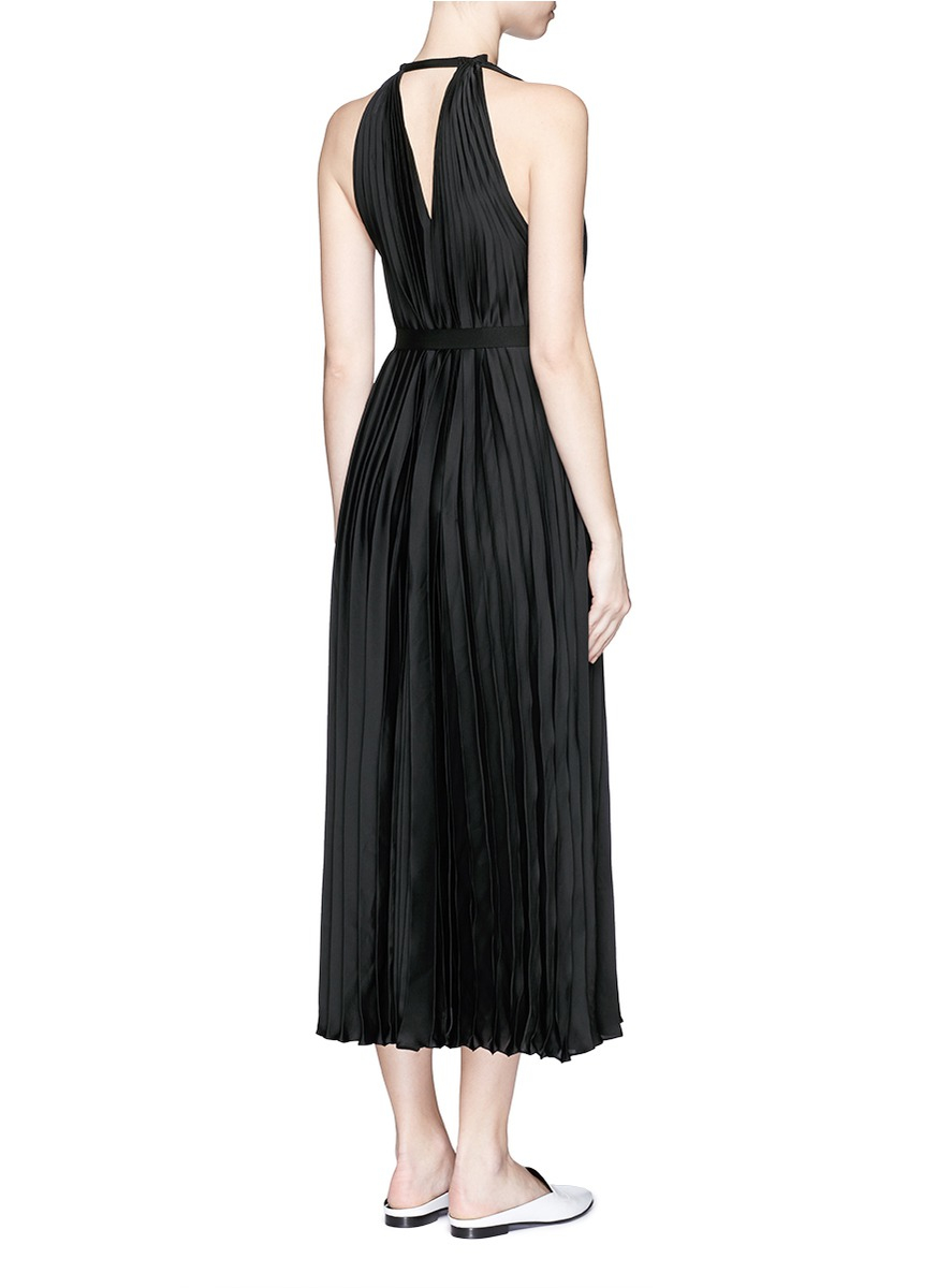 tome grosgrain sash belt pleated dress in black lyst