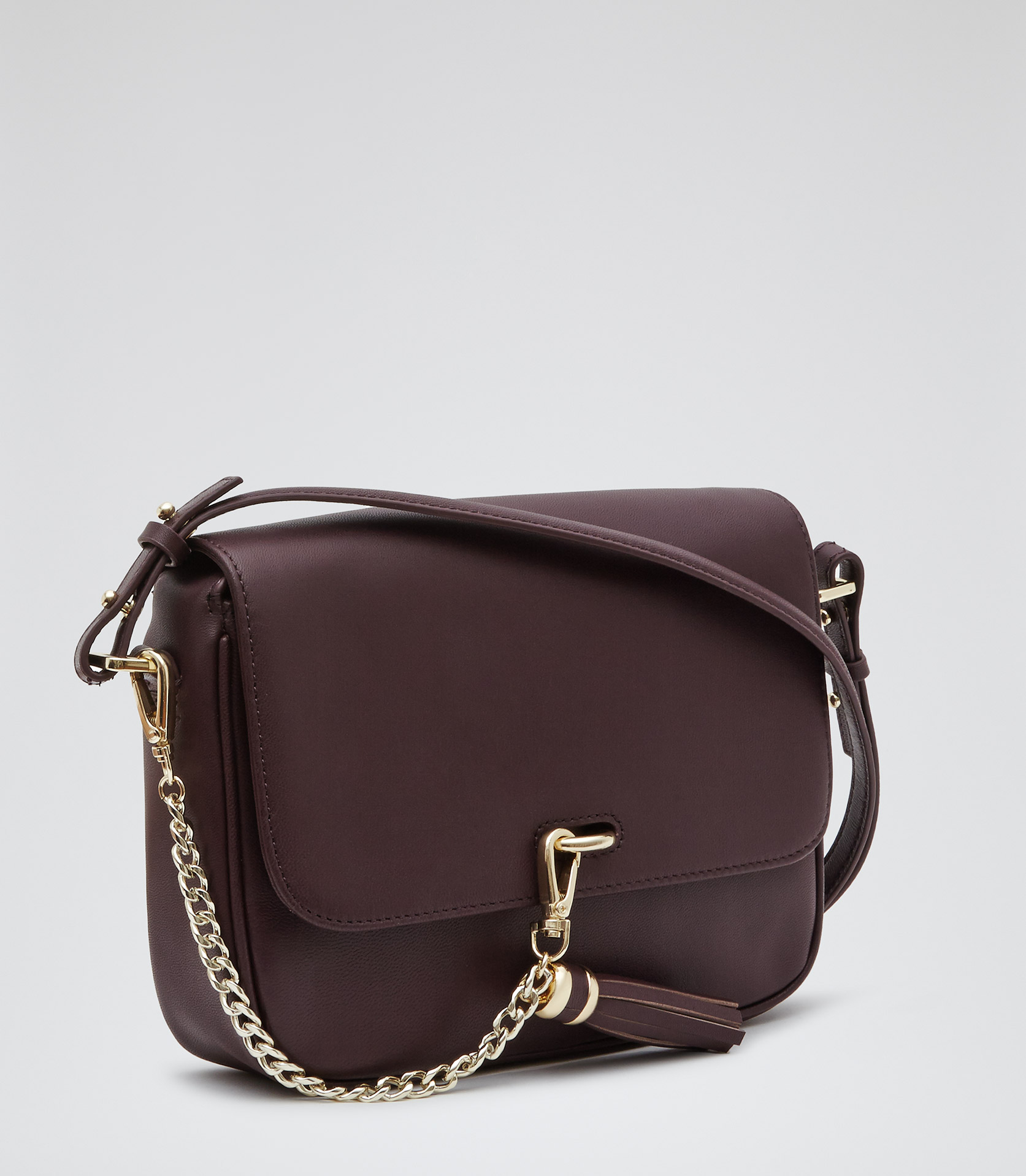 reiss laguna chain tassel leather bag  purple lyst